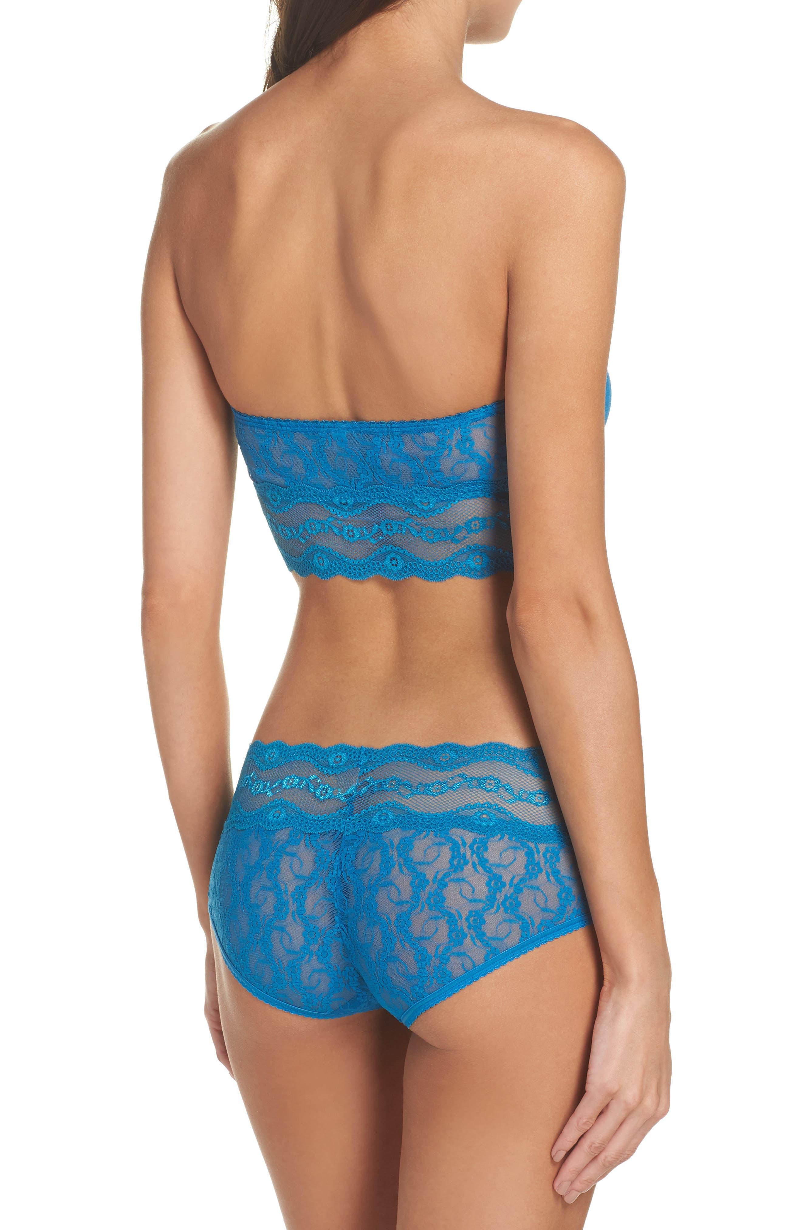 Lace Kiss Bandeau Bra,                             Alternate thumbnail 6, color,                             Mykonos Blue