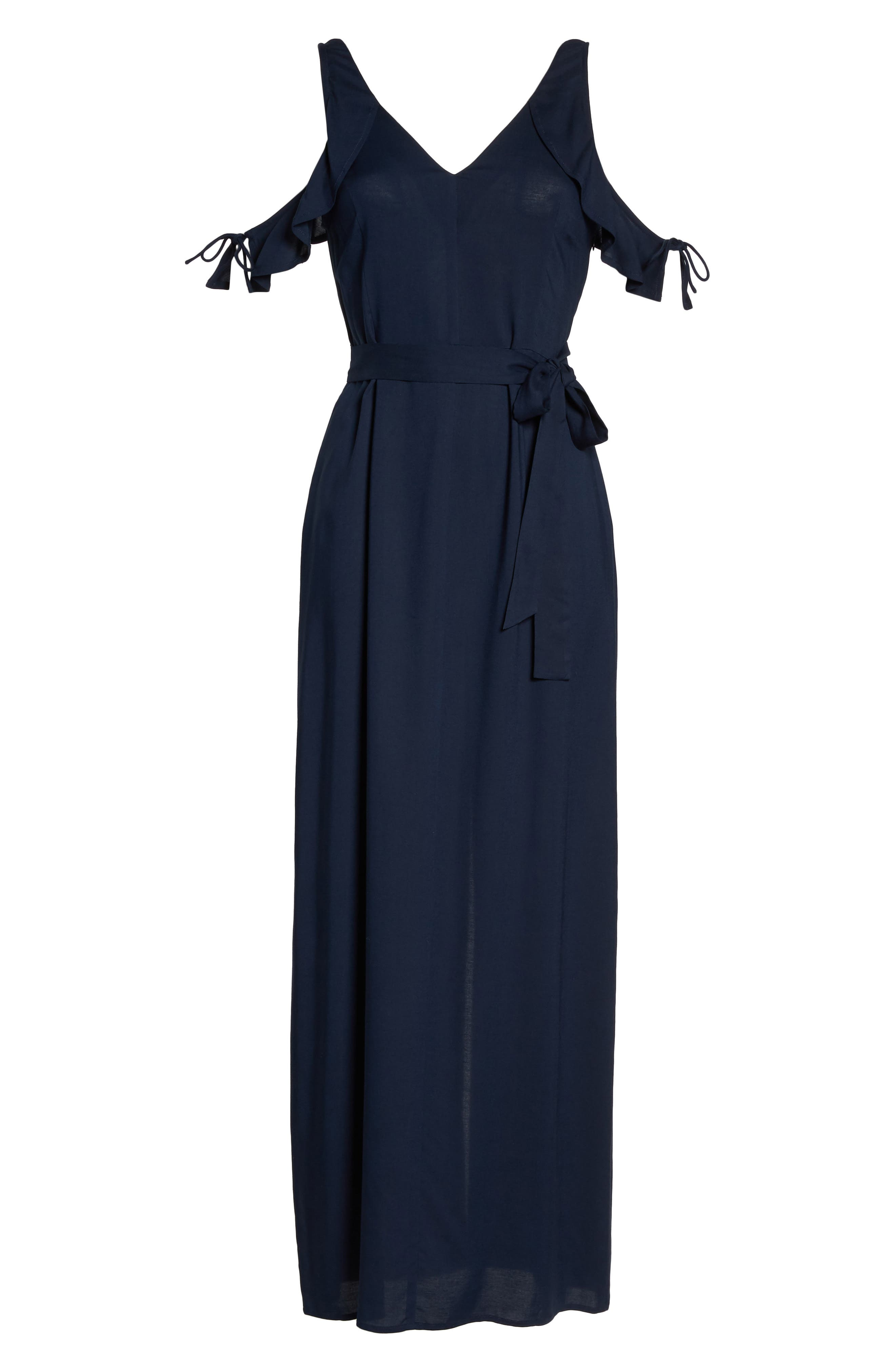 Lystra Cold Shoulder Maxi Dress,                             Alternate thumbnail 6, color,                             Dark Ink Blue