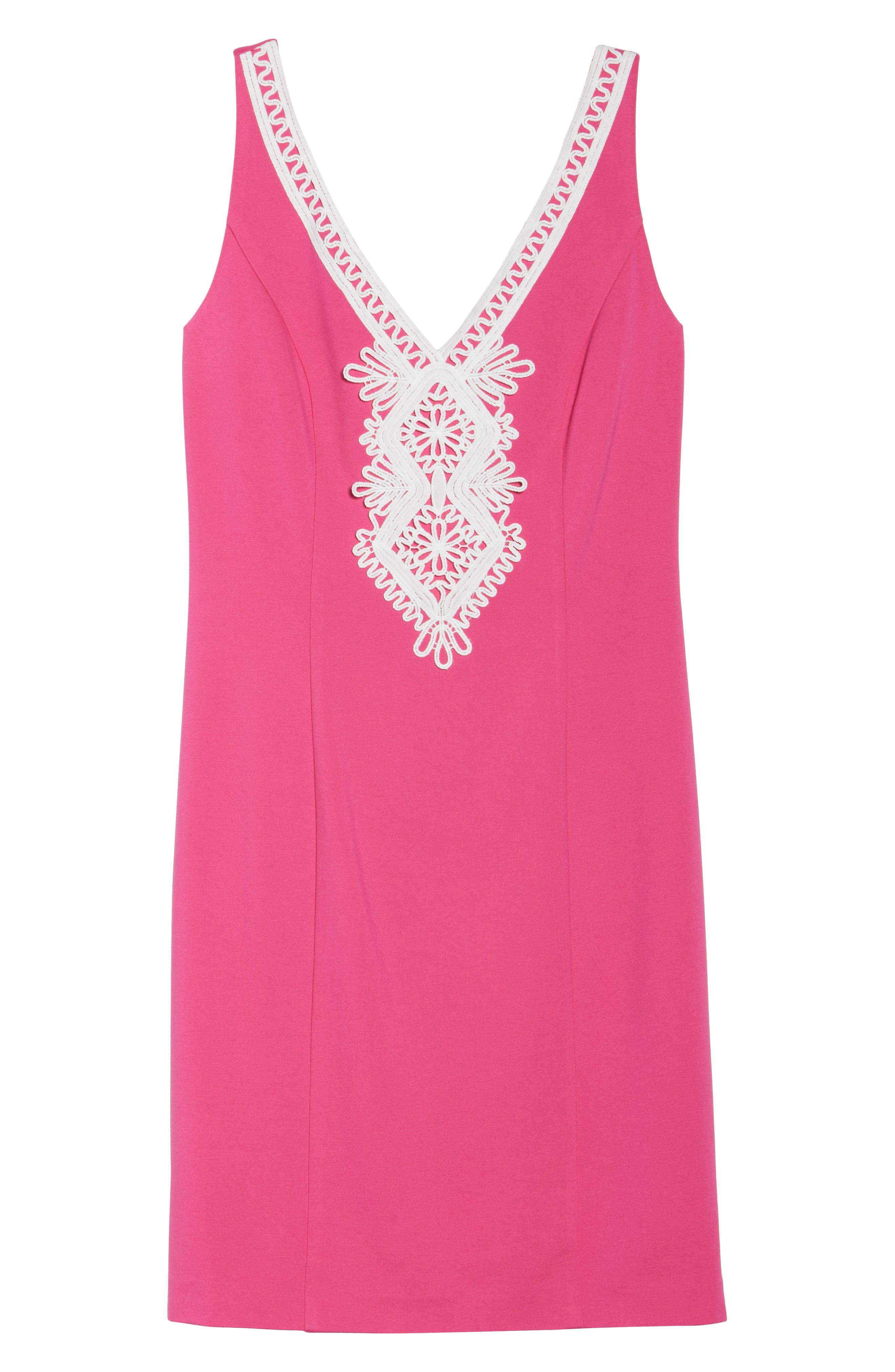 Embroidered V-Neck Shift Dress,                             Alternate thumbnail 7, color,                             Pink