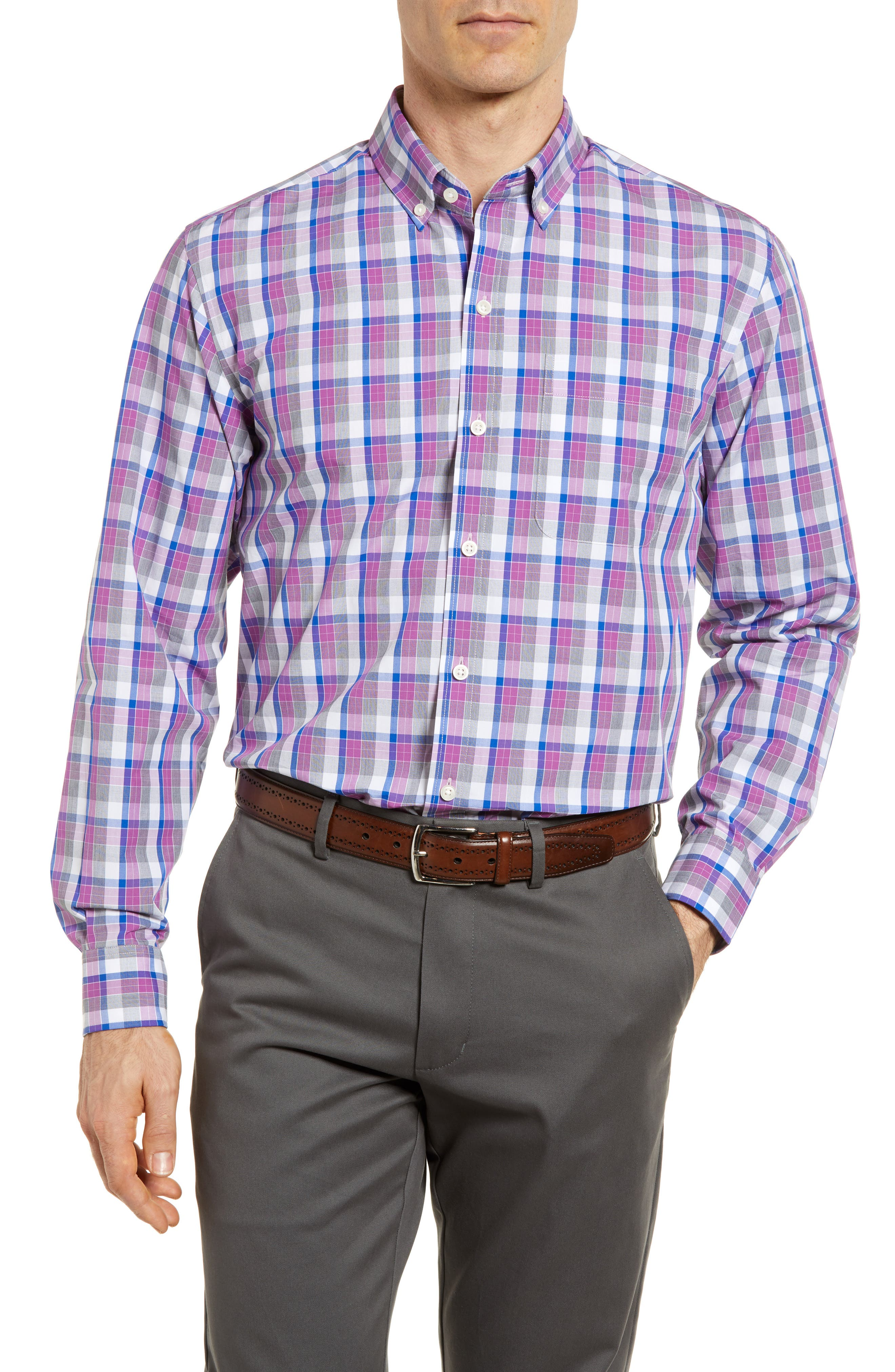 Zachary Non-Iron Plaid Sport Shirt,                             Main thumbnail 1, color,                             Magnetic