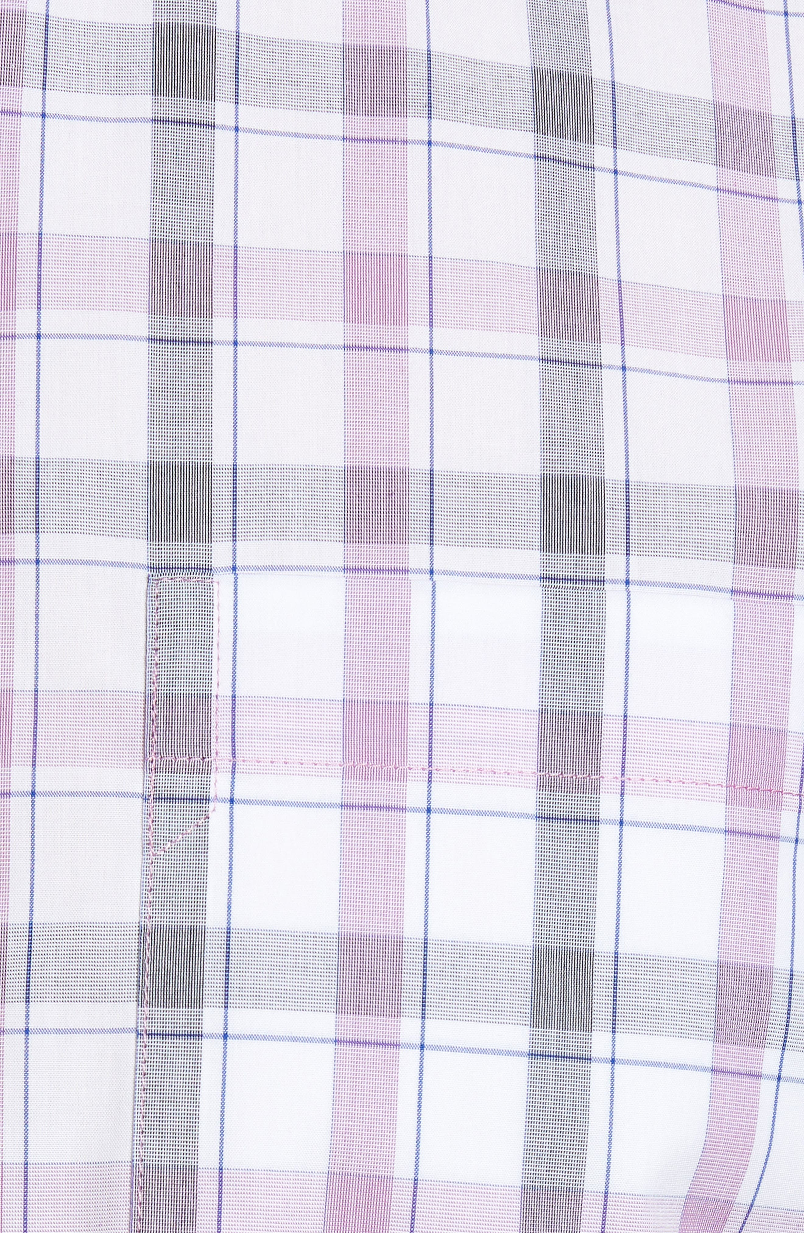 Griffen Non-Iron Plaid Sport Shirt,                             Alternate thumbnail 5, color,                             Magnetic