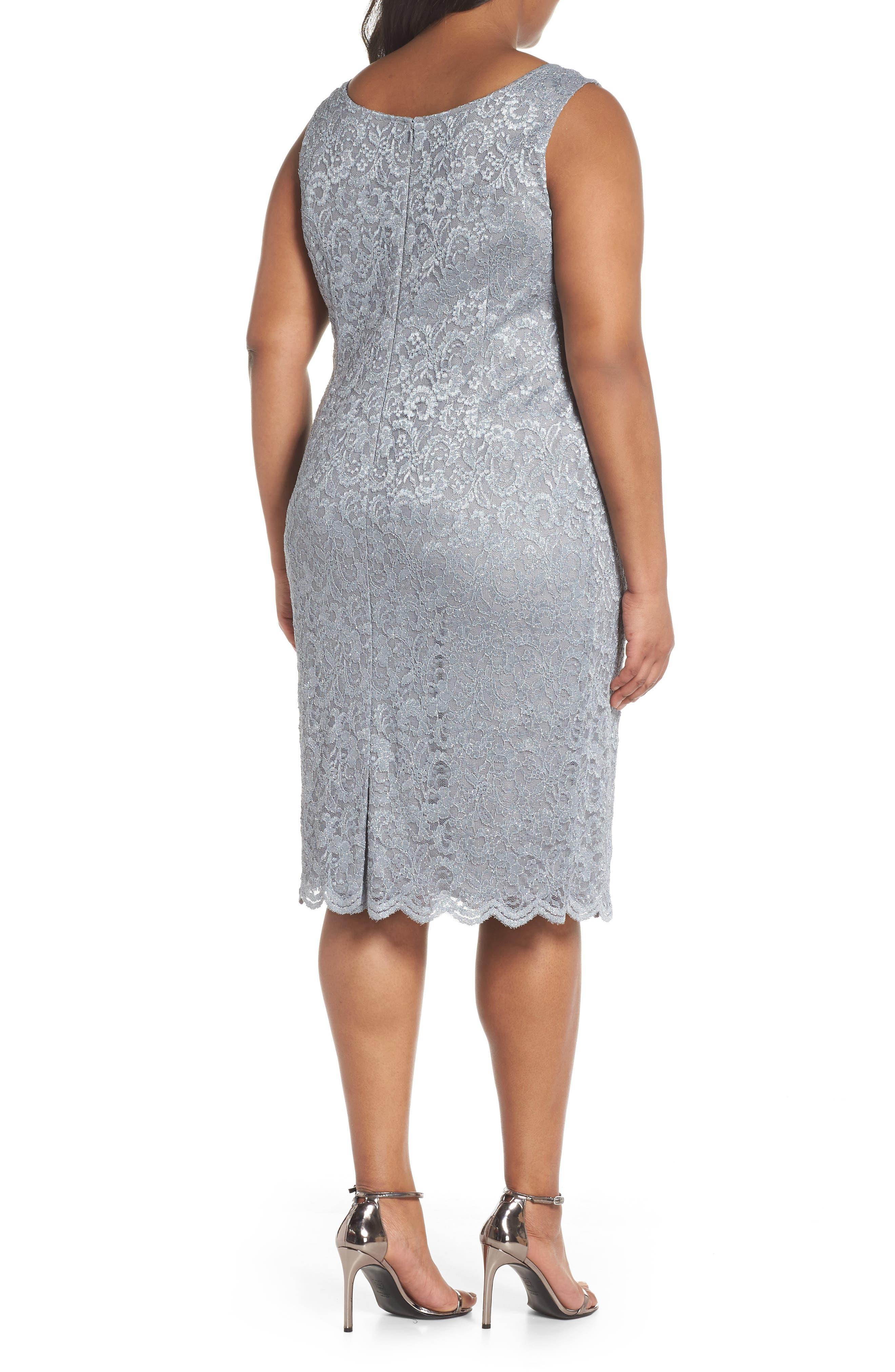 Lace Sheath Dress with Bolero Jacket,                             Alternate thumbnail 4, color,                             Silver