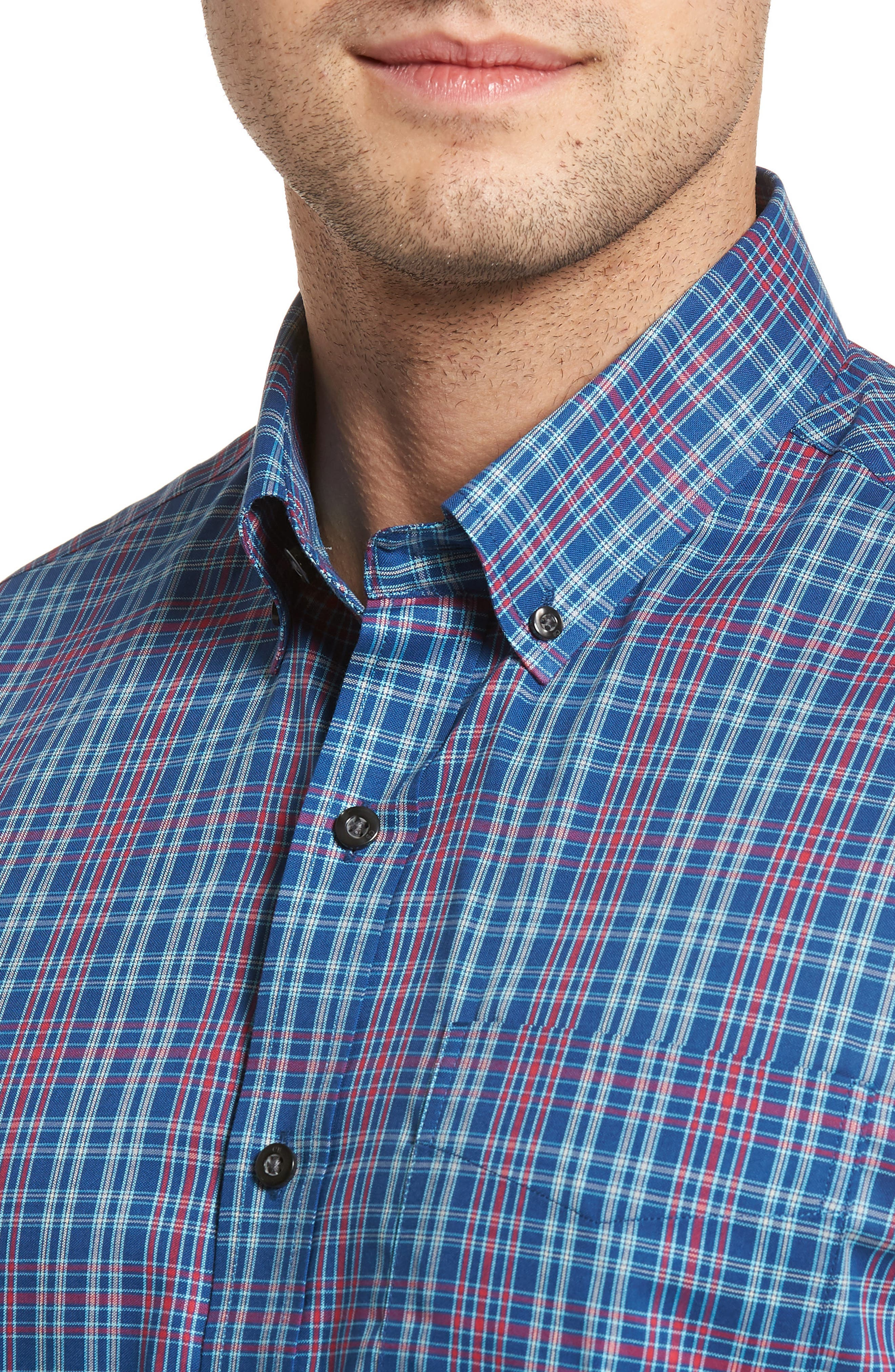Isaac Classic Fit Easy Care Check Sport Shirt,                             Alternate thumbnail 2, color,                             Nautical