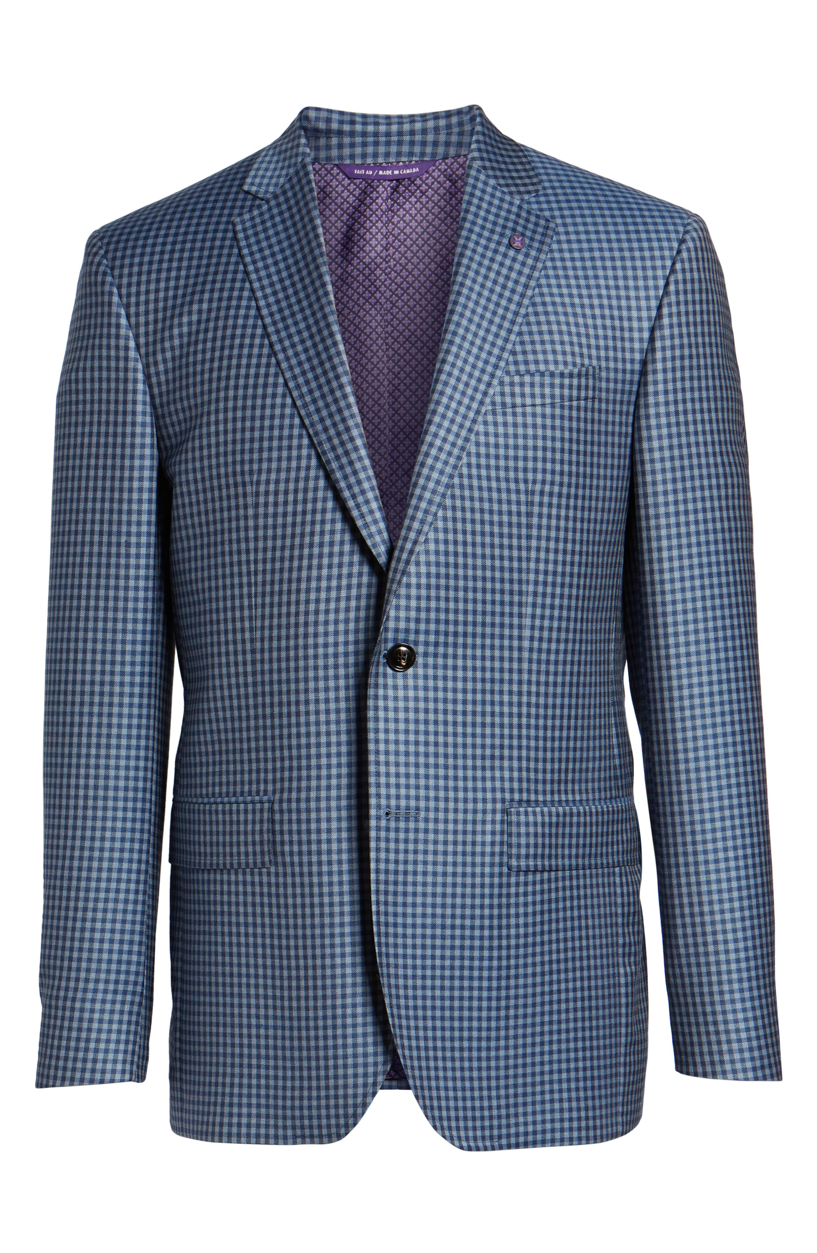 Jay Trim Fit Check Wool Sport Coat,                             Alternate thumbnail 6, color,                             Blue