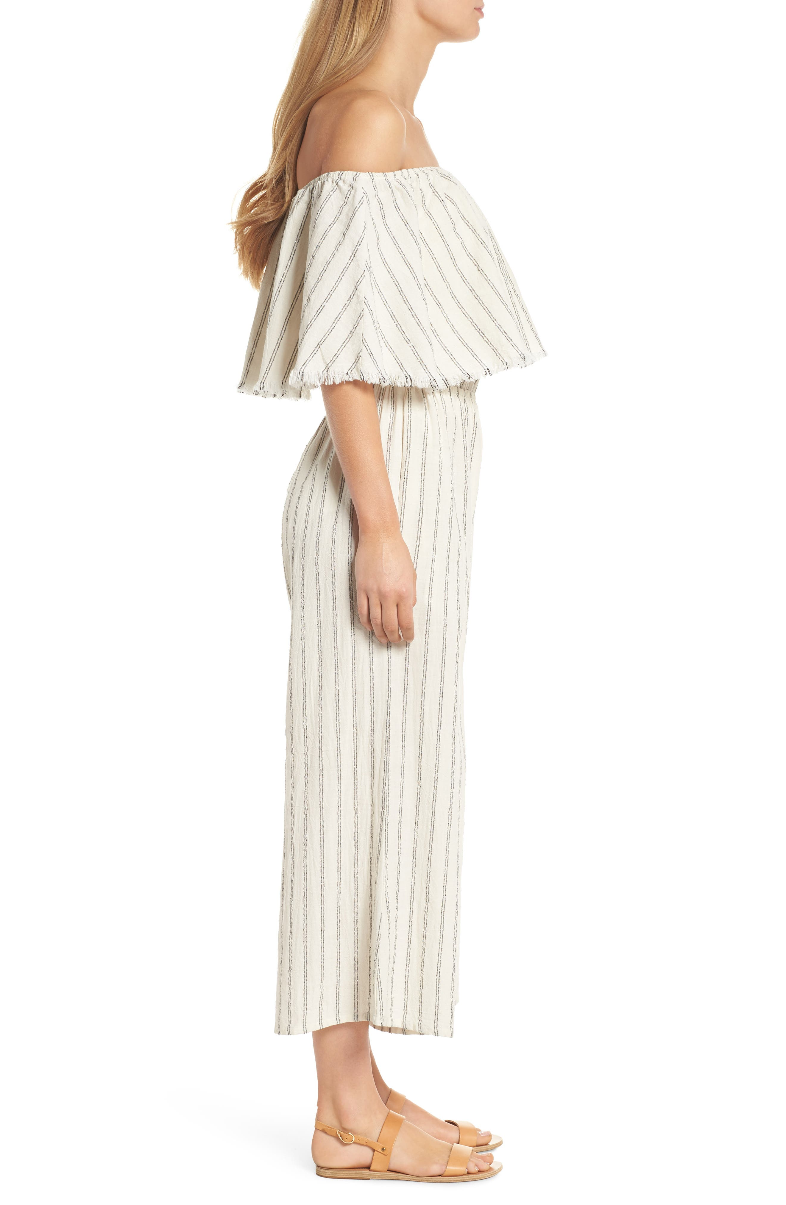 Ruffle Coulotte Cover-Up Jumpsuit,                             Alternate thumbnail 3, color,                             Natural Stripe