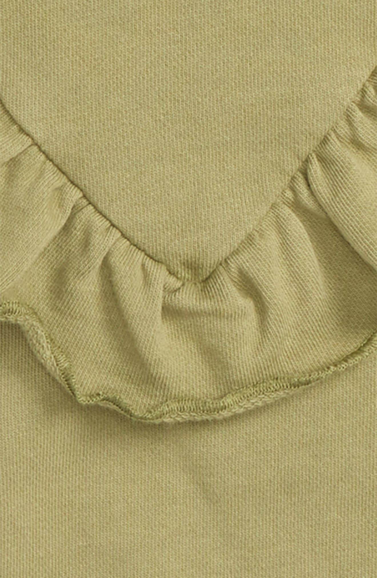 Ruffle Crewneck Pullover,                             Alternate thumbnail 2, color,                             Faded Olive
