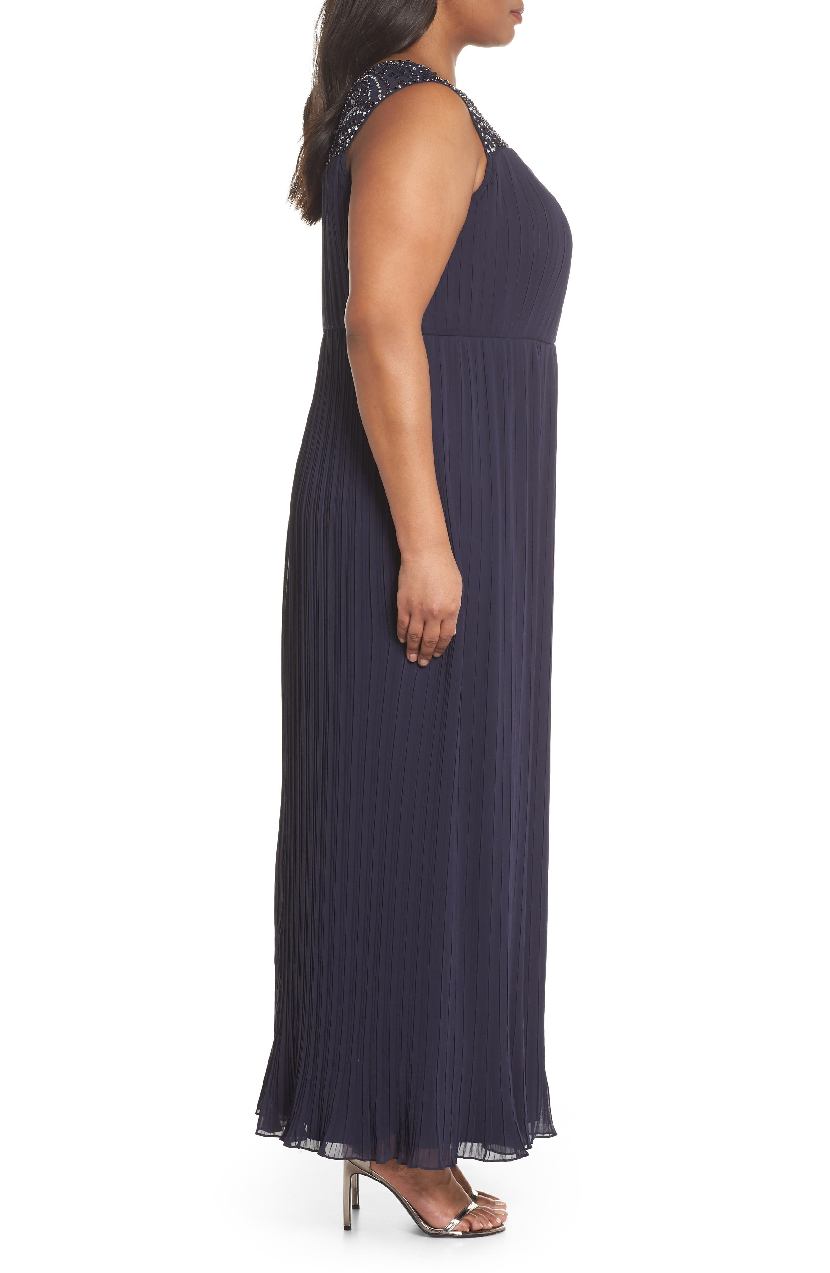 Embellished Illusion Pleated Gown,                             Alternate thumbnail 3, color,                             Navy