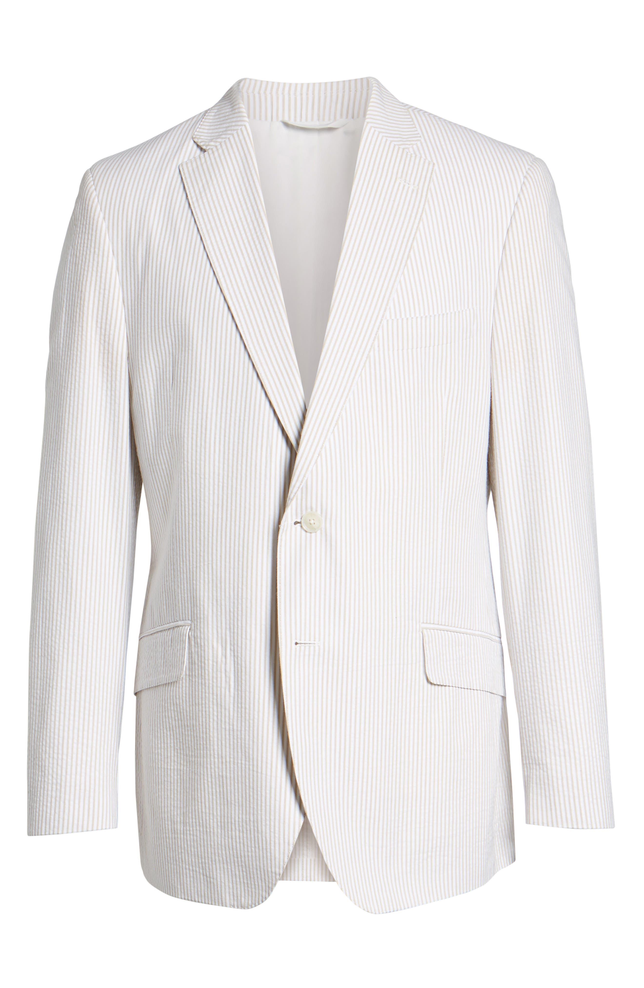 Jack AIM Classic Fit Seersucker Sport Coat,                             Alternate thumbnail 6, color,                             Tan And White
