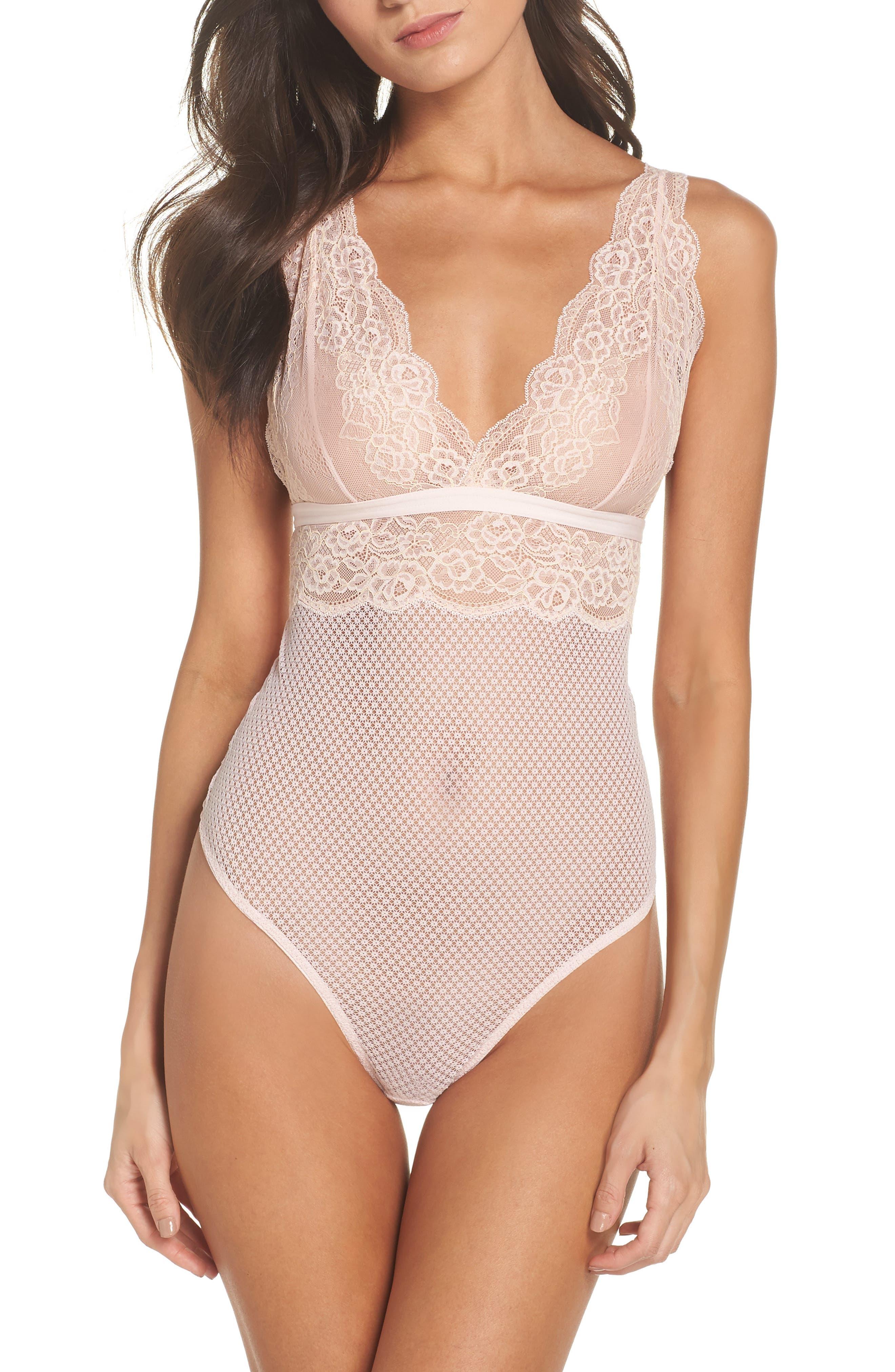 Erica Lace Thong Bodysuit,                         Main,                         color, Blush