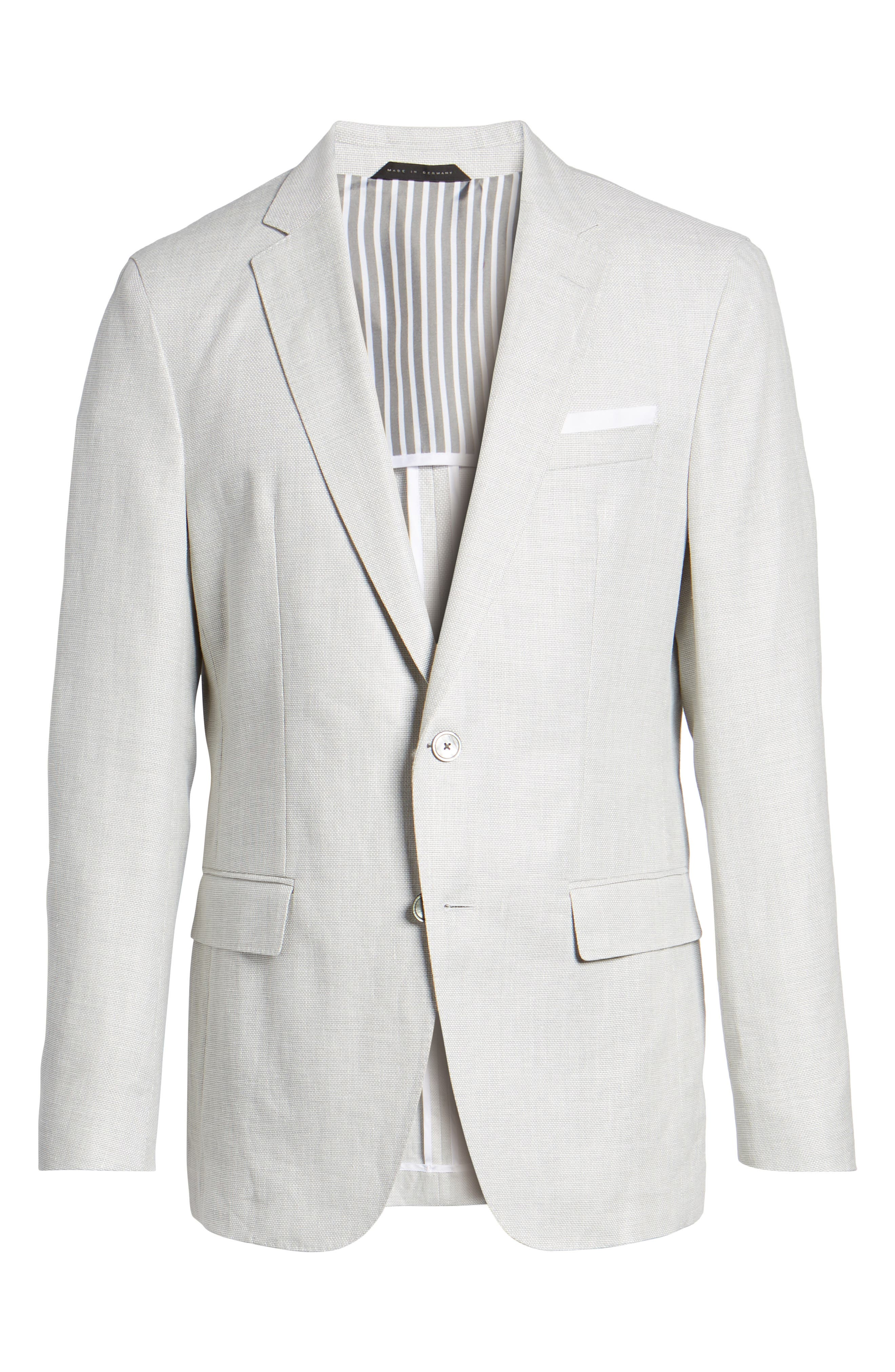 Hartlay Trim Fit Linen Blend Blazer,                             Alternate thumbnail 6, color,                             Silver Grey