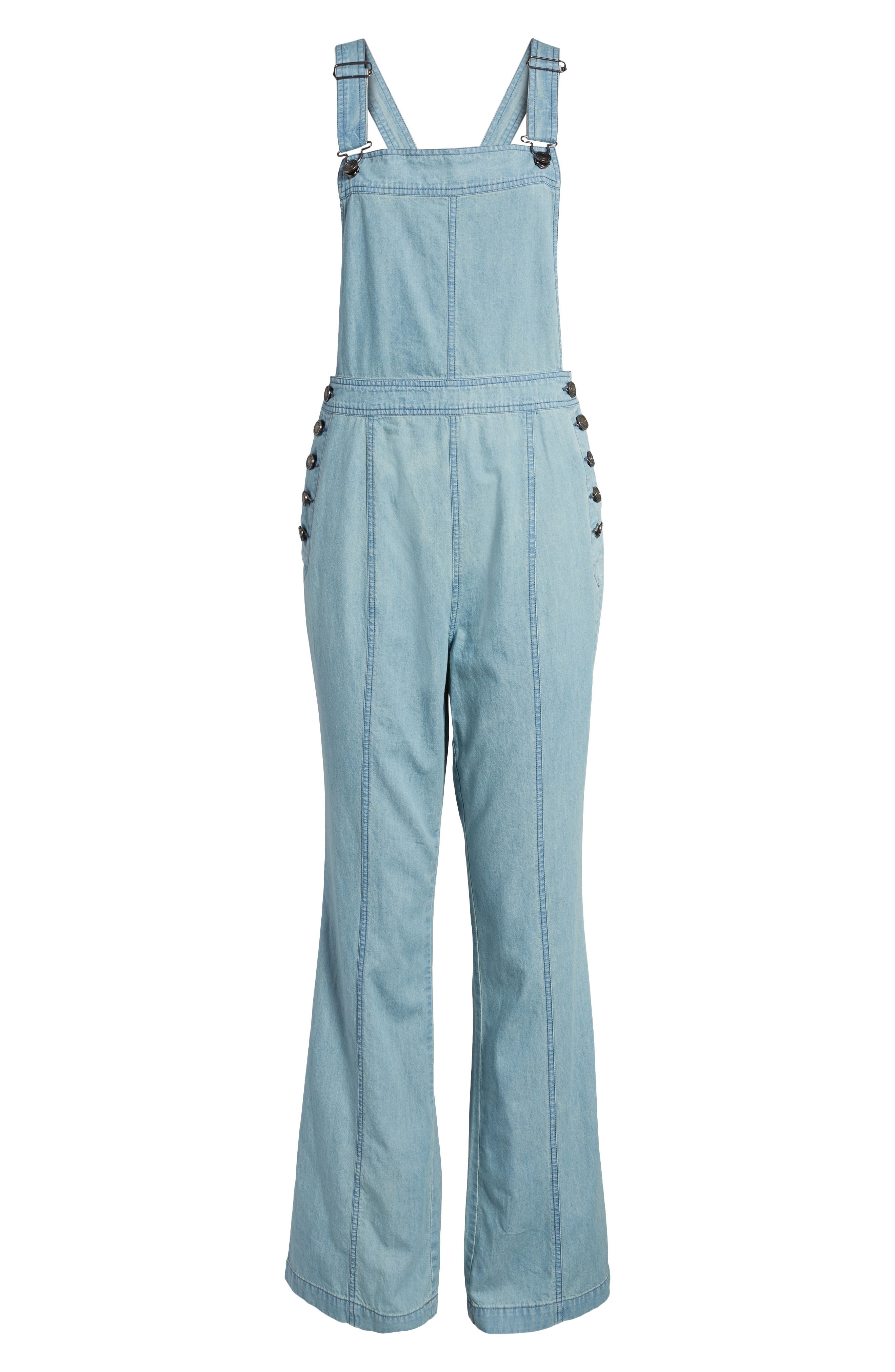 Meliani Denim Overalls,                             Alternate thumbnail 6, color,                             Denim