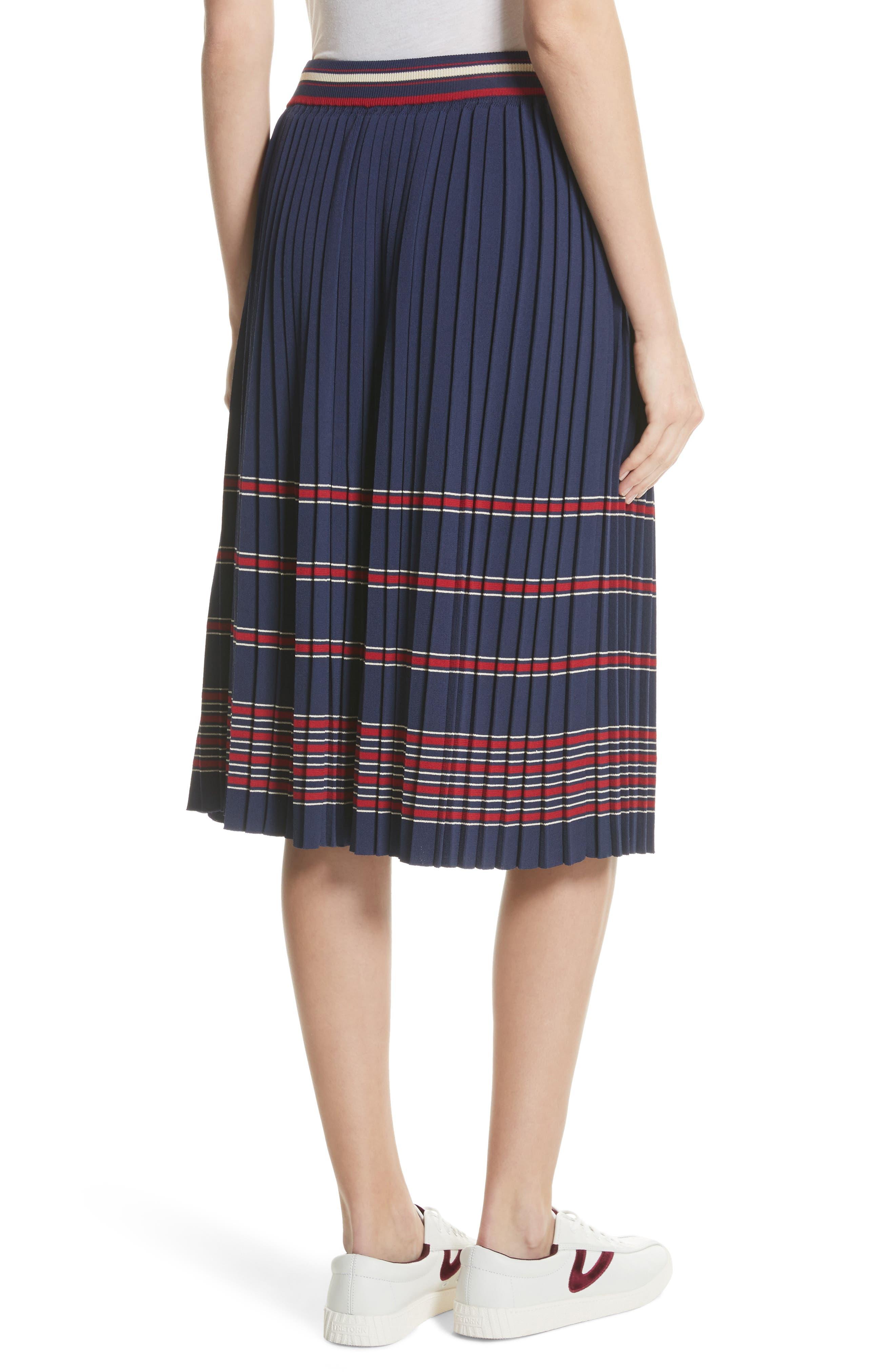 Pleated Midi Skirt,                             Alternate thumbnail 2, color,                             Navy
