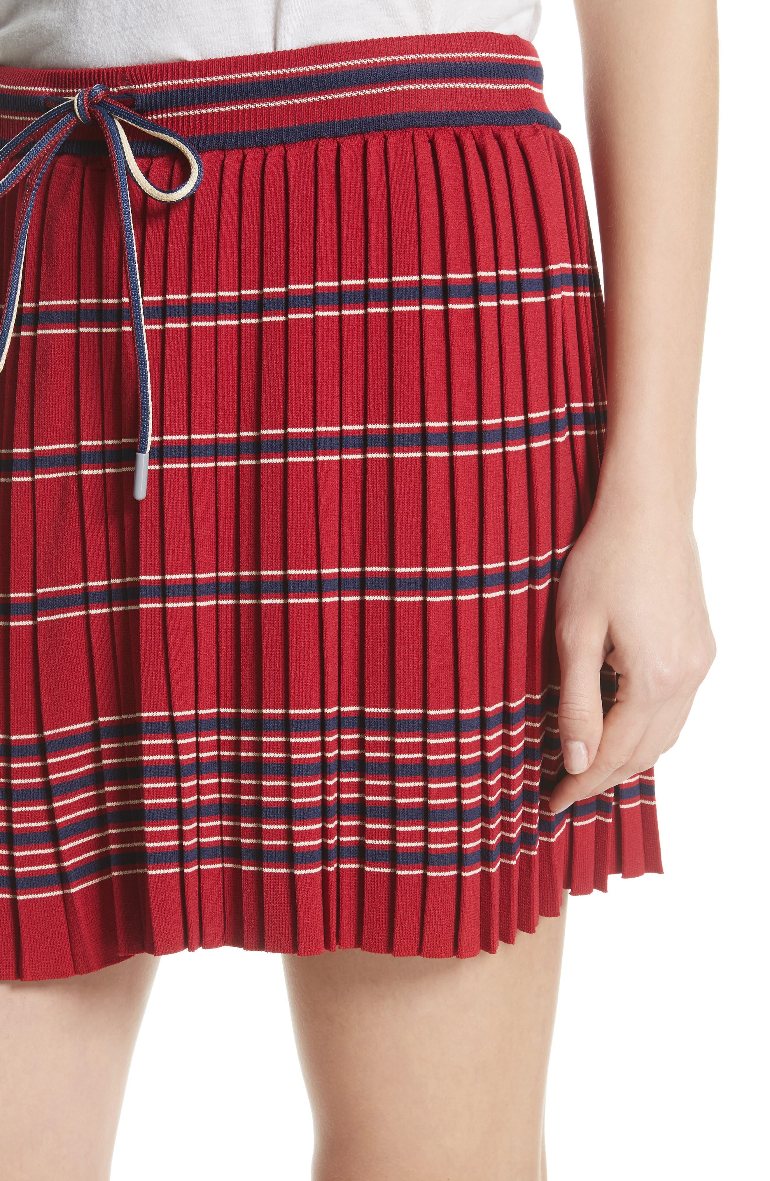 Pleated Miniskirt,                             Alternate thumbnail 5, color,                             Bordeaux