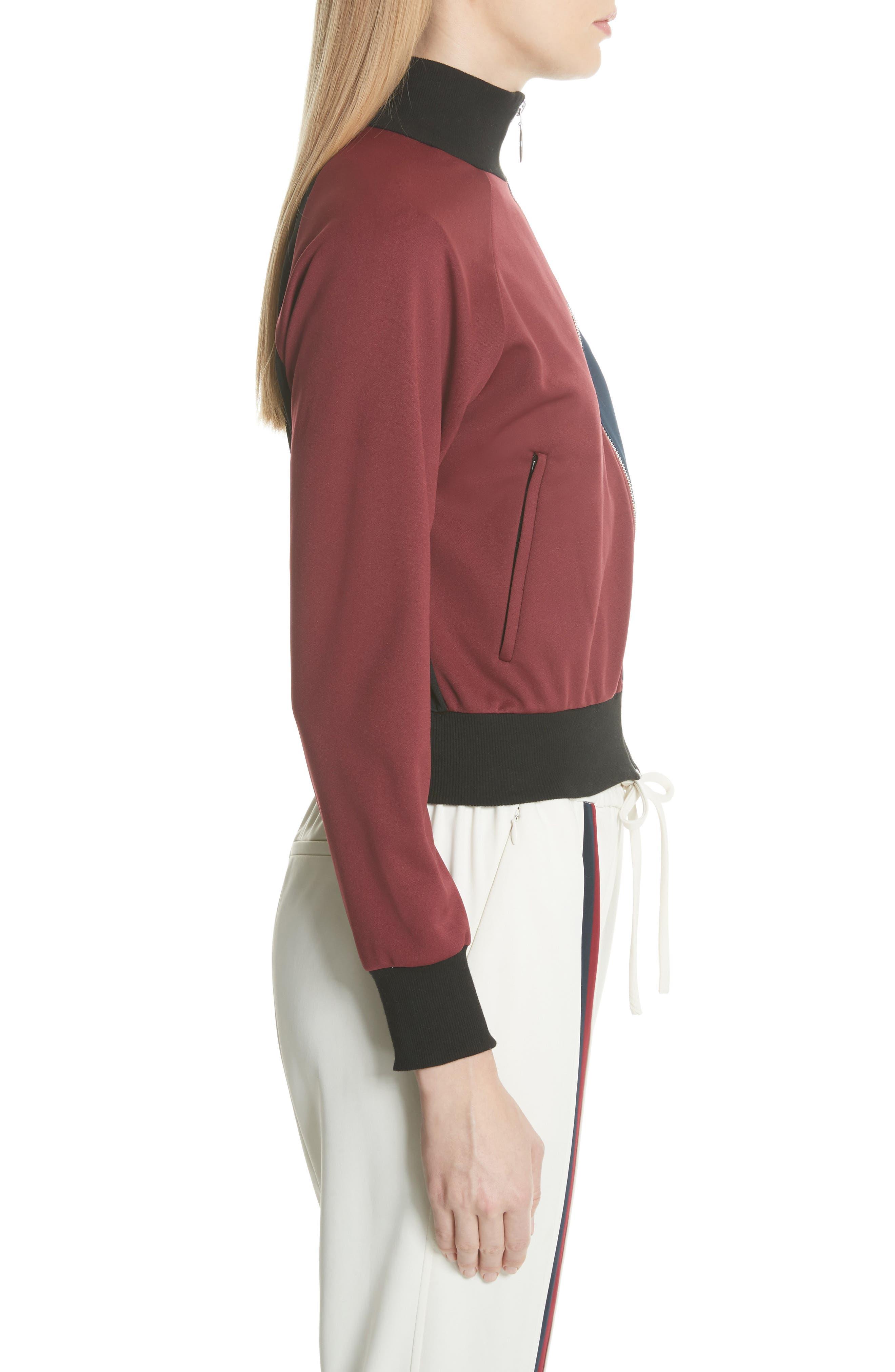 Colorblock Zip Sweatshirt,                             Alternate thumbnail 4, color,                             Bordeaux/ Navy