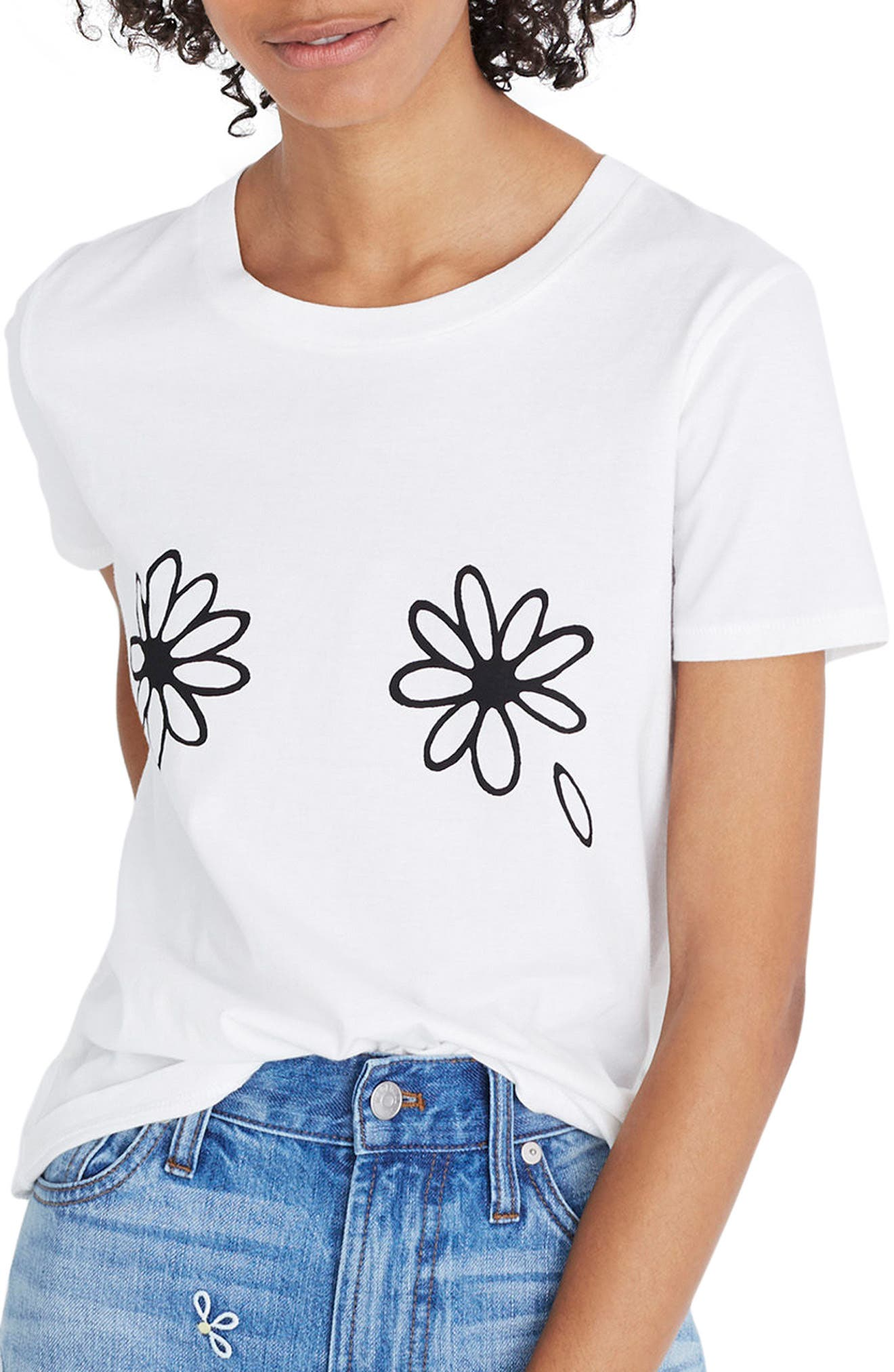 Daisies Graphic Tee,                         Main,                         color, White Wash