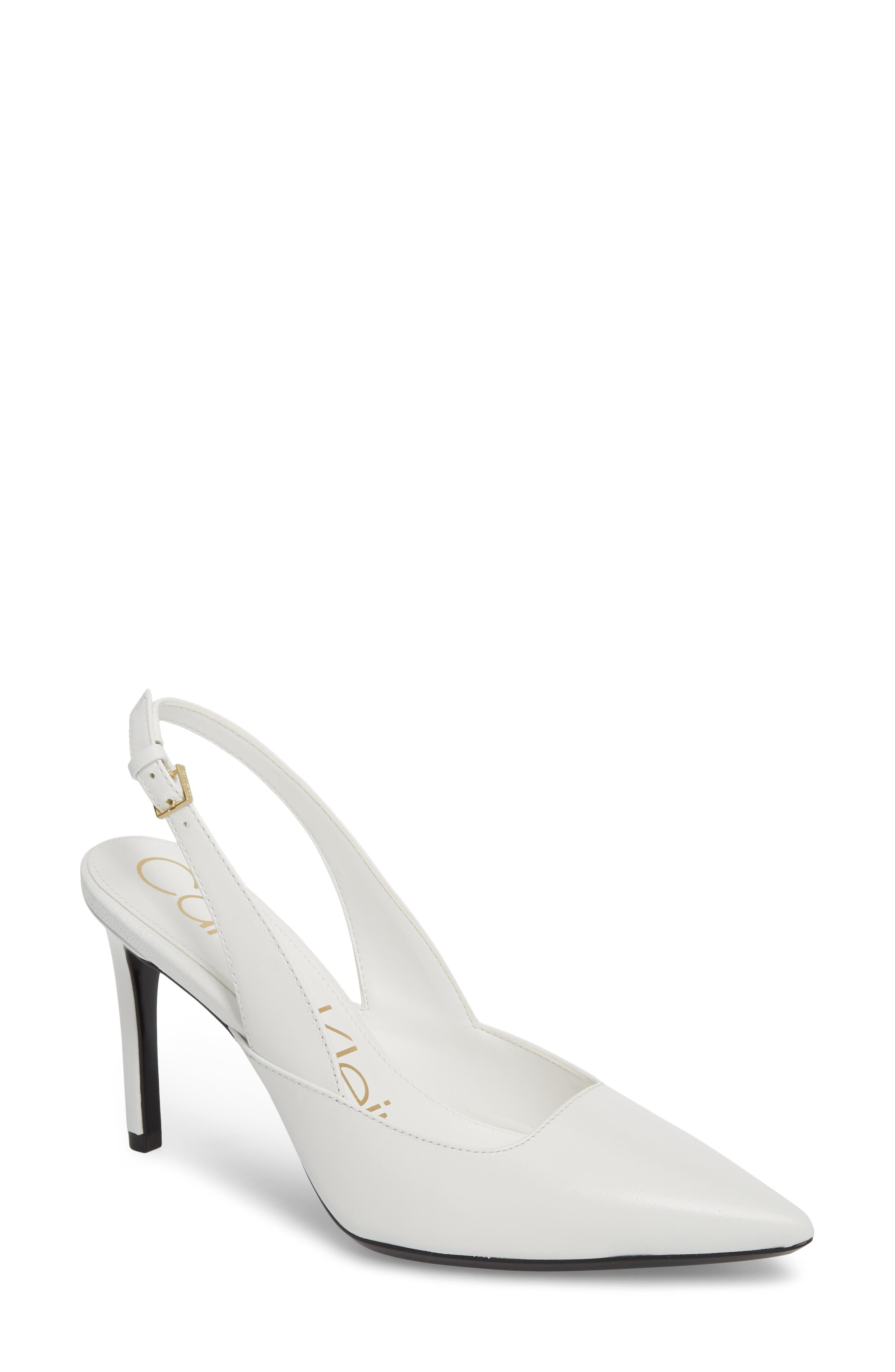 Rielle Slingback Pump,                             Main thumbnail 1, color,                             Platinum White Leather
