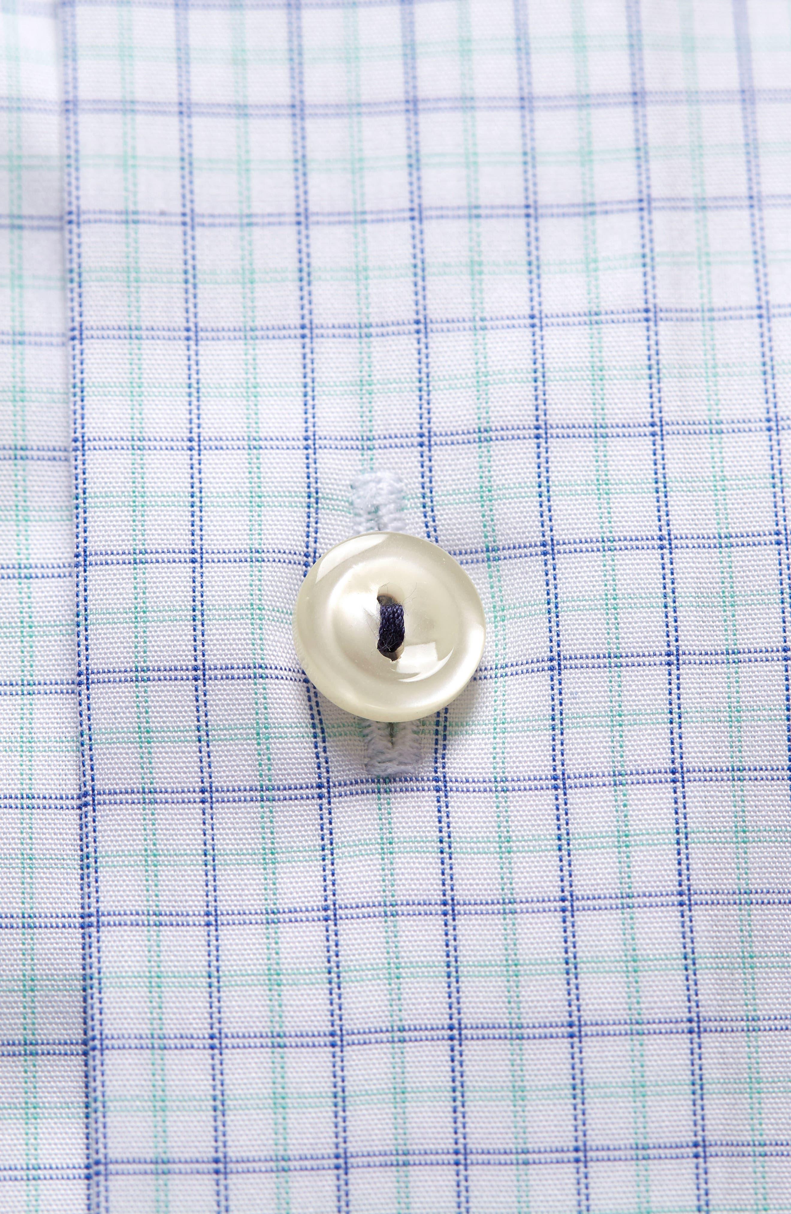 Slim Fit Check Dress Shirt,                             Alternate thumbnail 6, color,                             Green