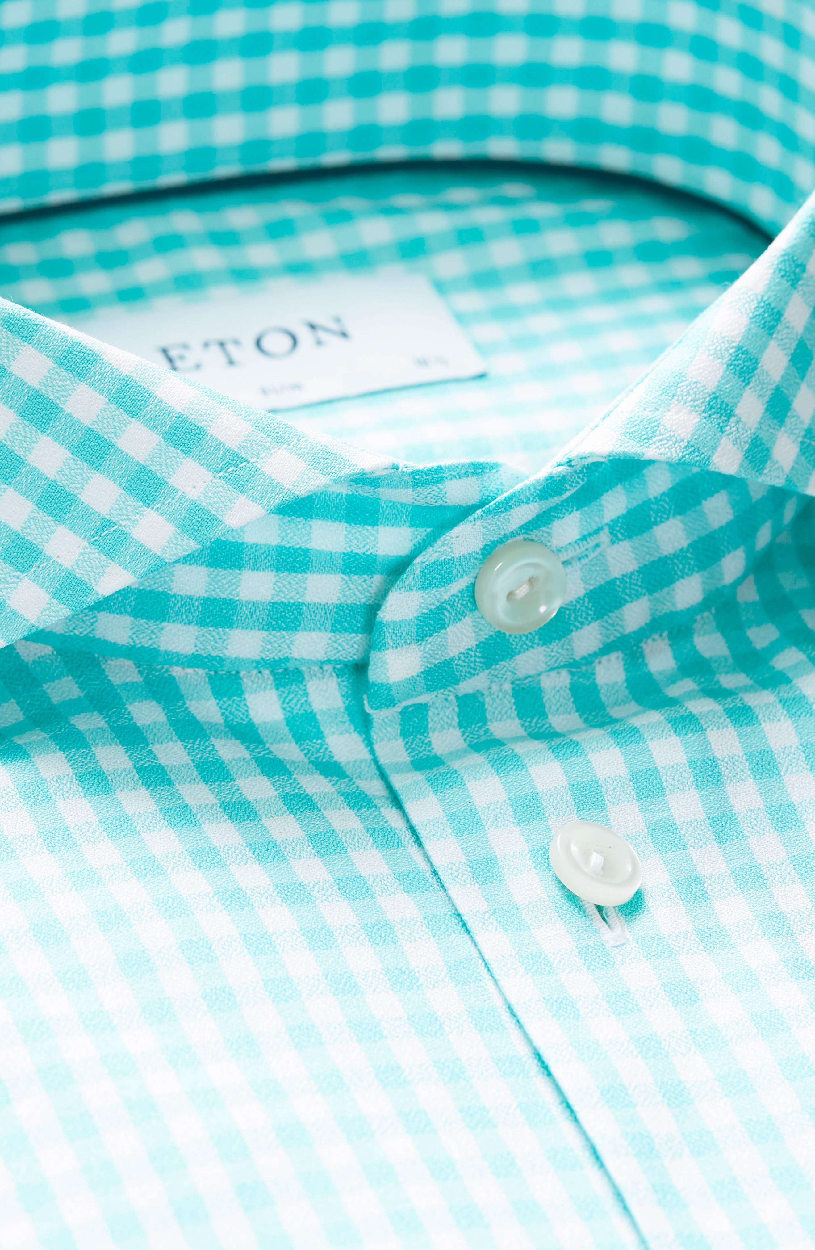Contemporary Fit Check Dress Shirt,                             Alternate thumbnail 5, color,                             Teal