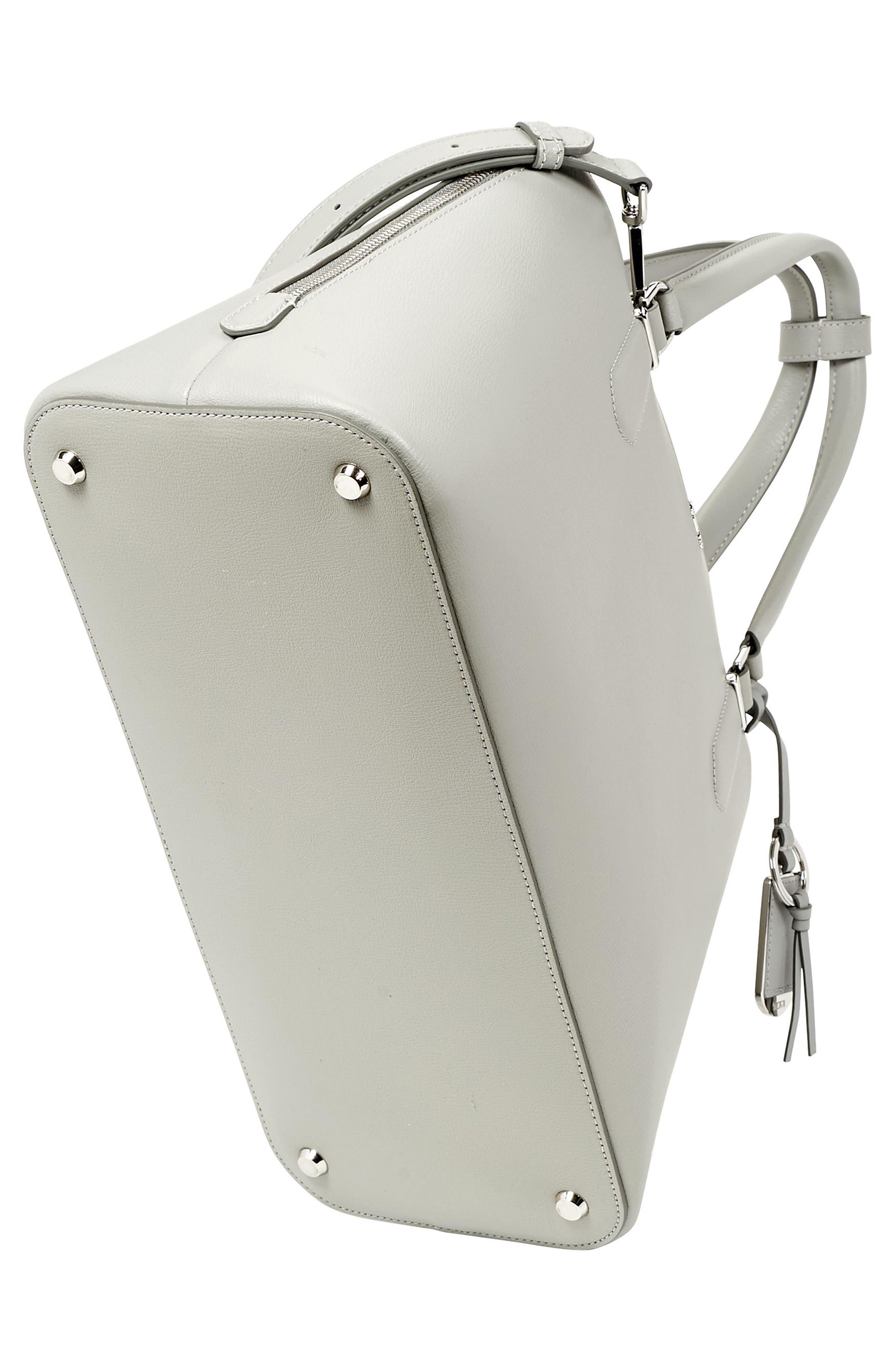 Stanton – Deonne Domed Leather Satchel,                             Alternate thumbnail 6, color,                             Light Grey