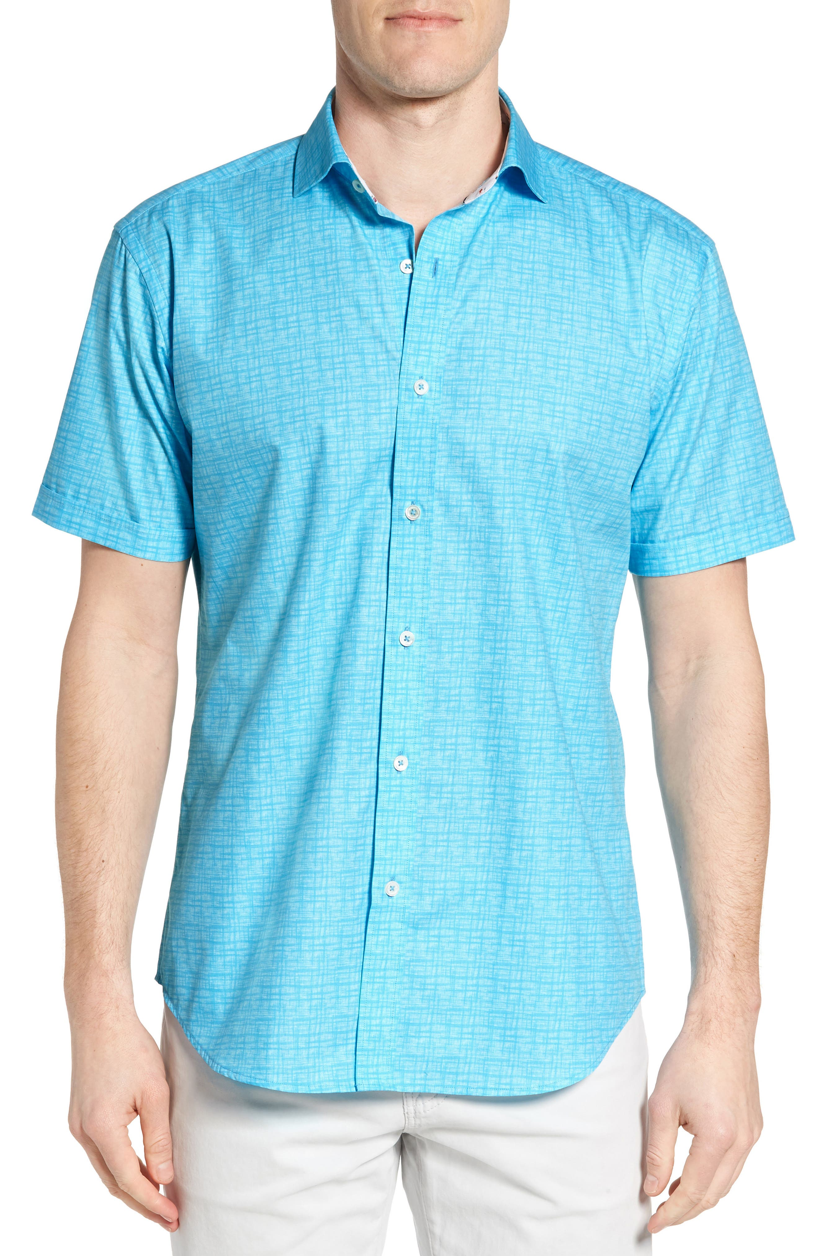 Freehand Shaped Fit Sport Shirt,                             Main thumbnail 1, color,                             Aqua