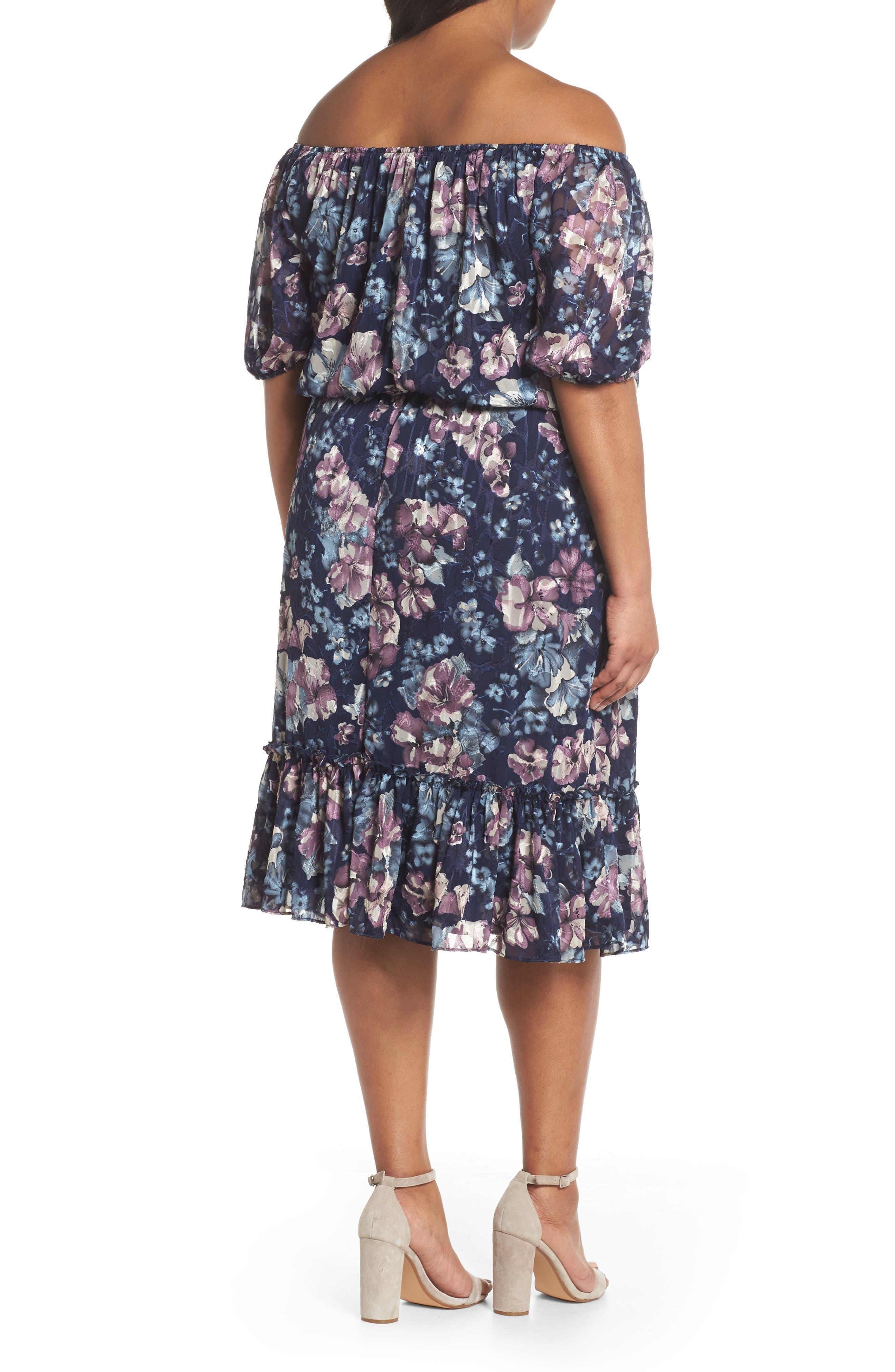 Floral Burnout Off the Shoulder Blouson Dress,                             Alternate thumbnail 2, color,                             Navy Multi