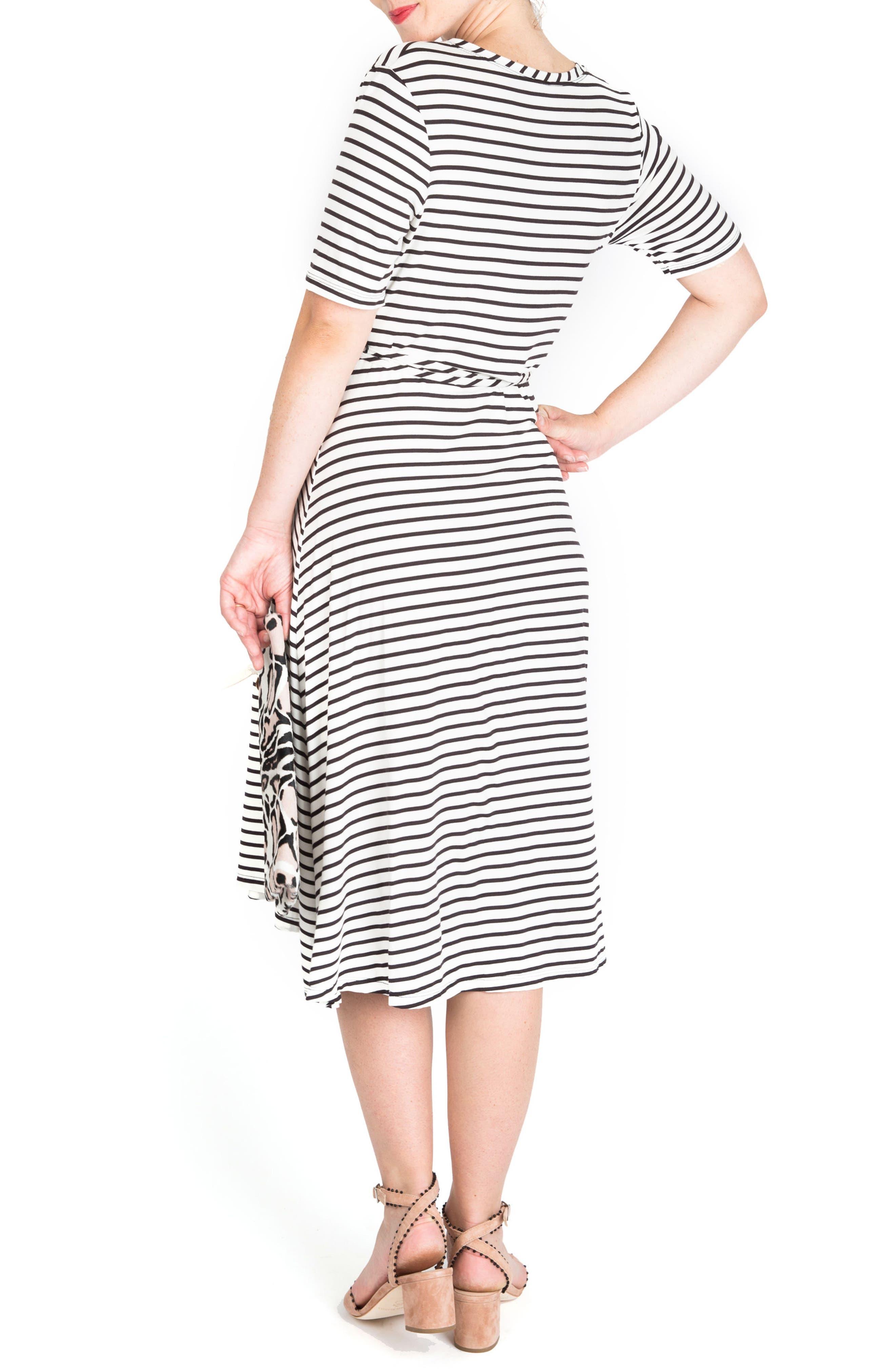 Maya Maternity/Nursing Wrap Dress,                             Alternate thumbnail 2, color,                             Black/ White Stripe