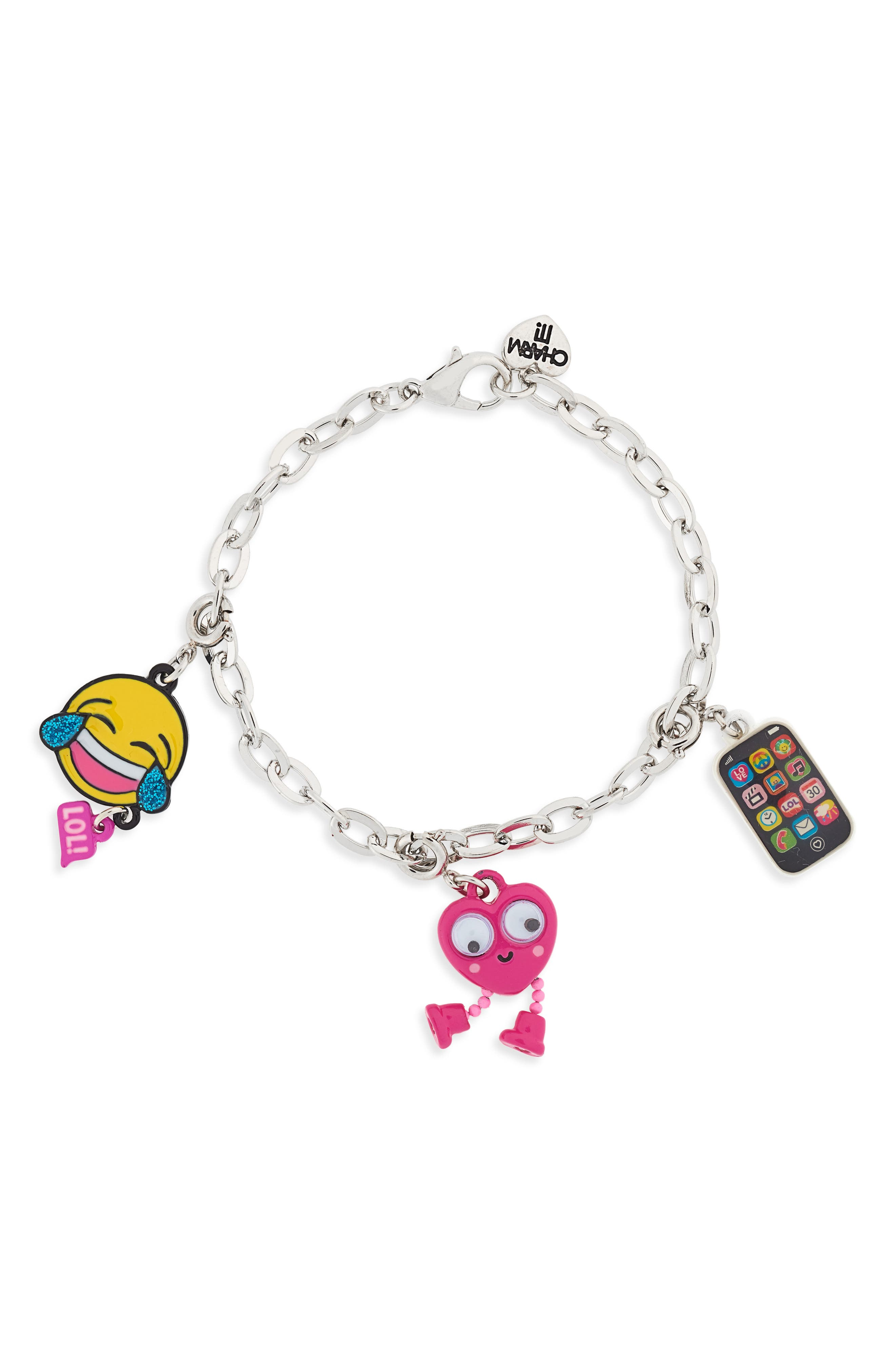 CHARM IT!<sup>®</sup> Emoji Charm Bracelet Gift Set,                             Alternate thumbnail 3, color,                             Multi