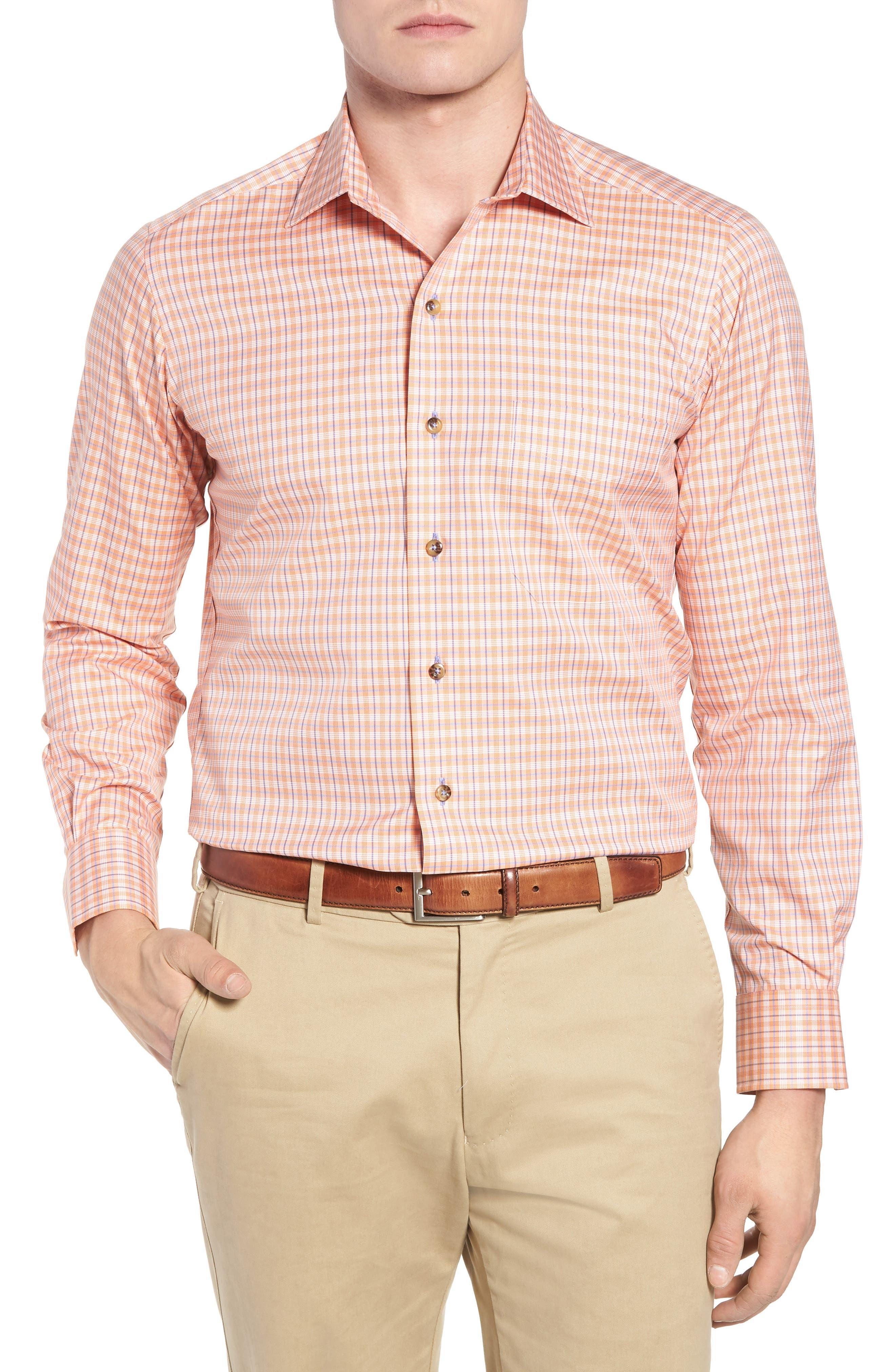 Regular Fit Plaid Sport Shirt,                         Main,                         color, Melon