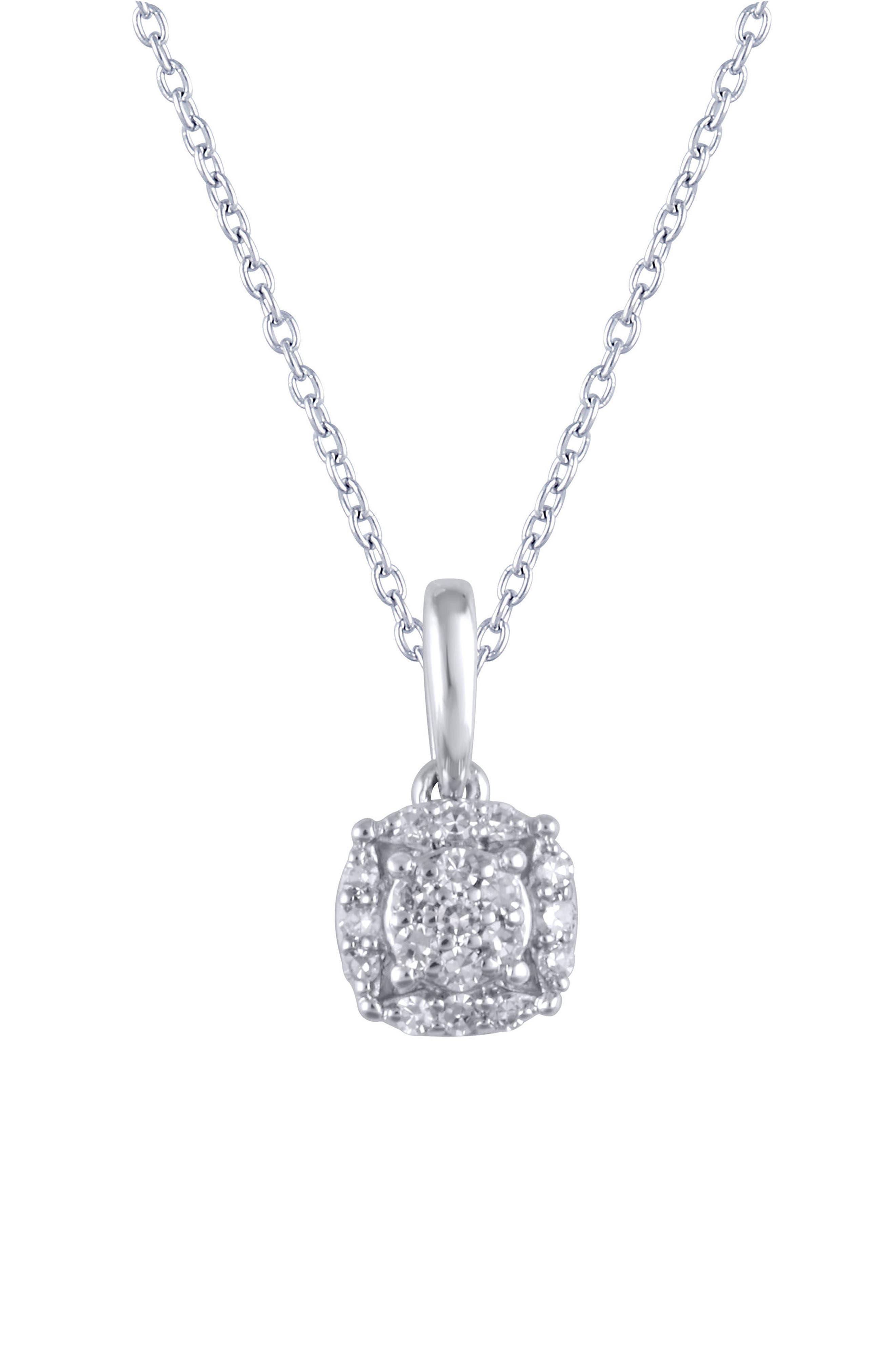 Carrière Pavé Pendant Necklace,                         Main,                         color, Silver/ Diamond