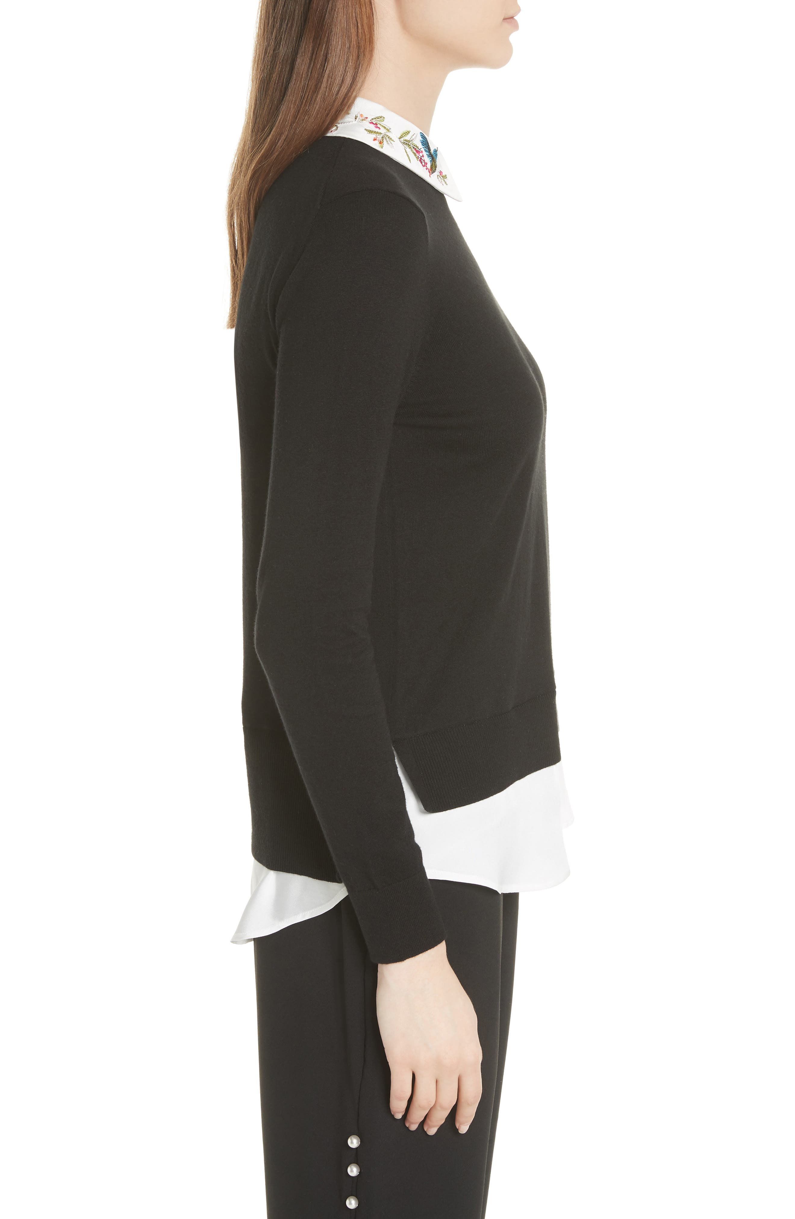 Highgrove Layered Look Sweater,                             Alternate thumbnail 3, color,                             Black