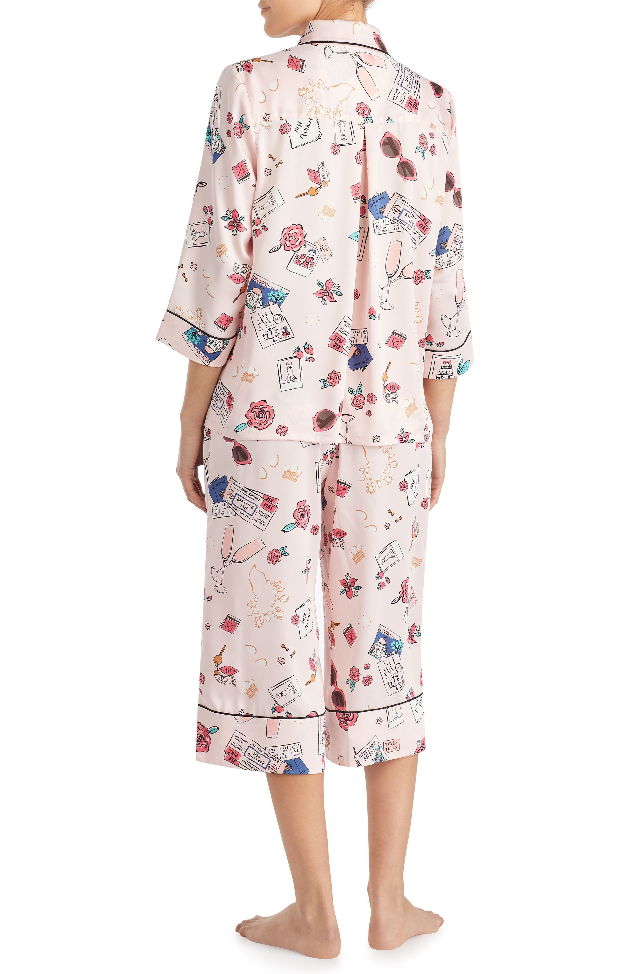 print charmeuse crop pajamas,                             Alternate thumbnail 2, color,                             Honeymoon Print
