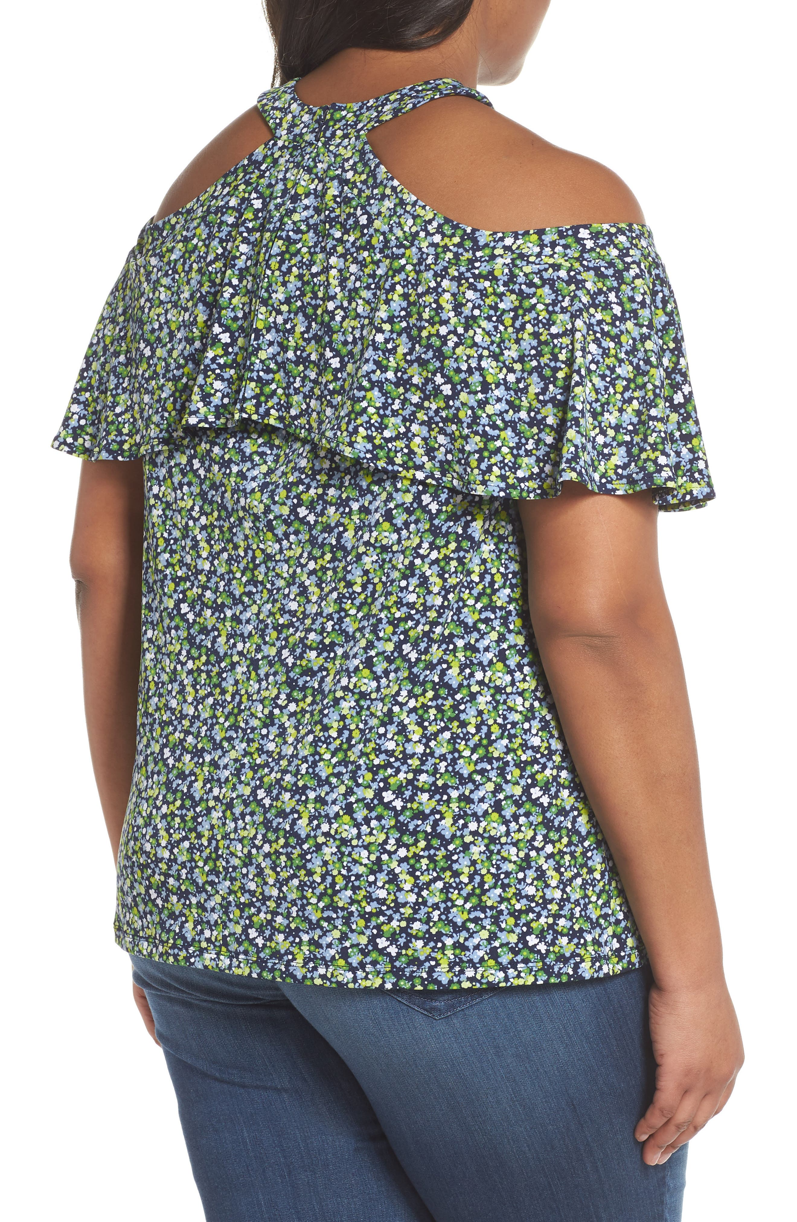 Wildflower Flounce Cold Shoulder Top,                             Alternate thumbnail 2, color,                             True Navy/ Green Apple Mu