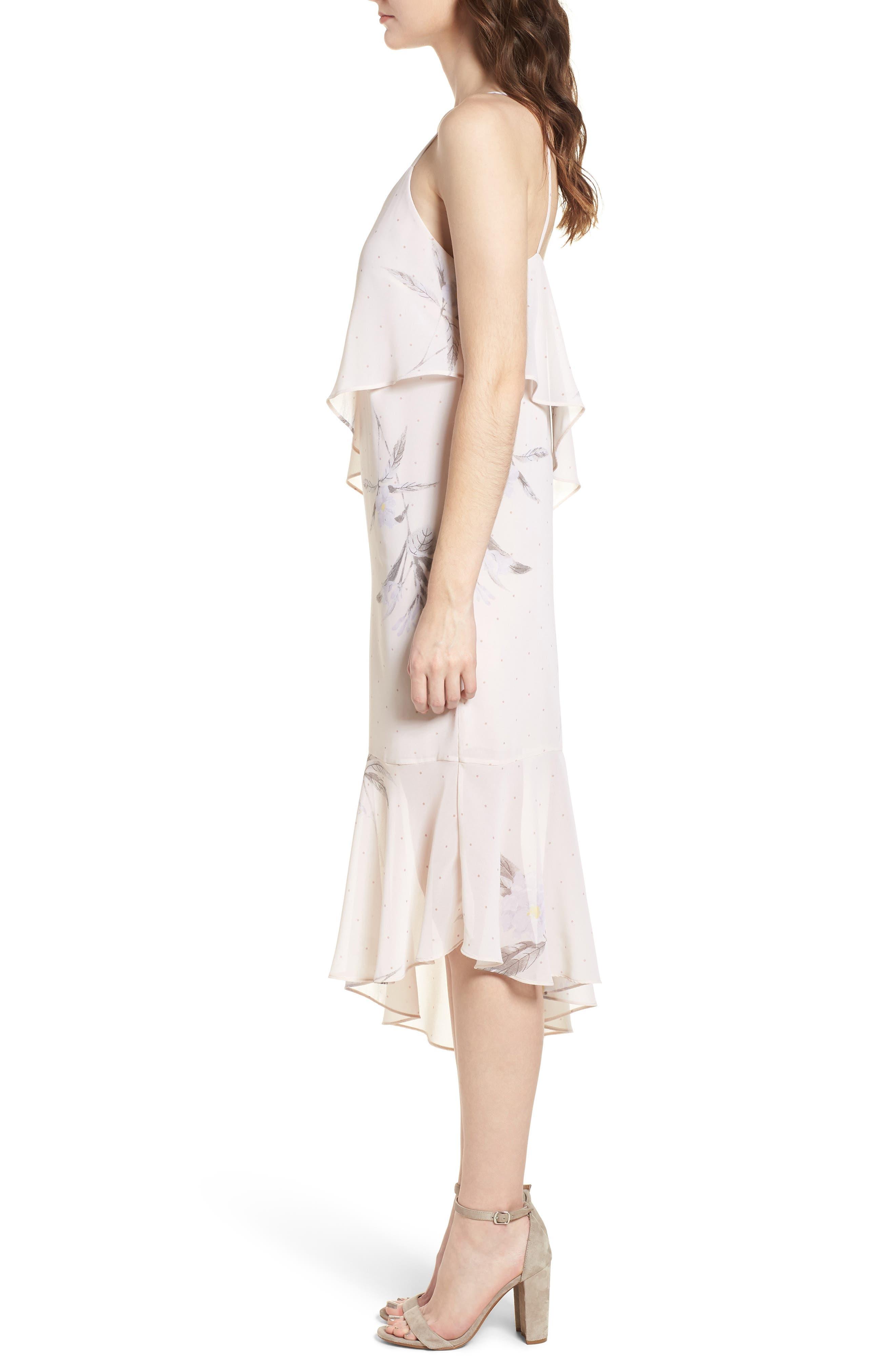 Asymmetric Midi Dress,                             Alternate thumbnail 3, color,                             Light Taupe Floral