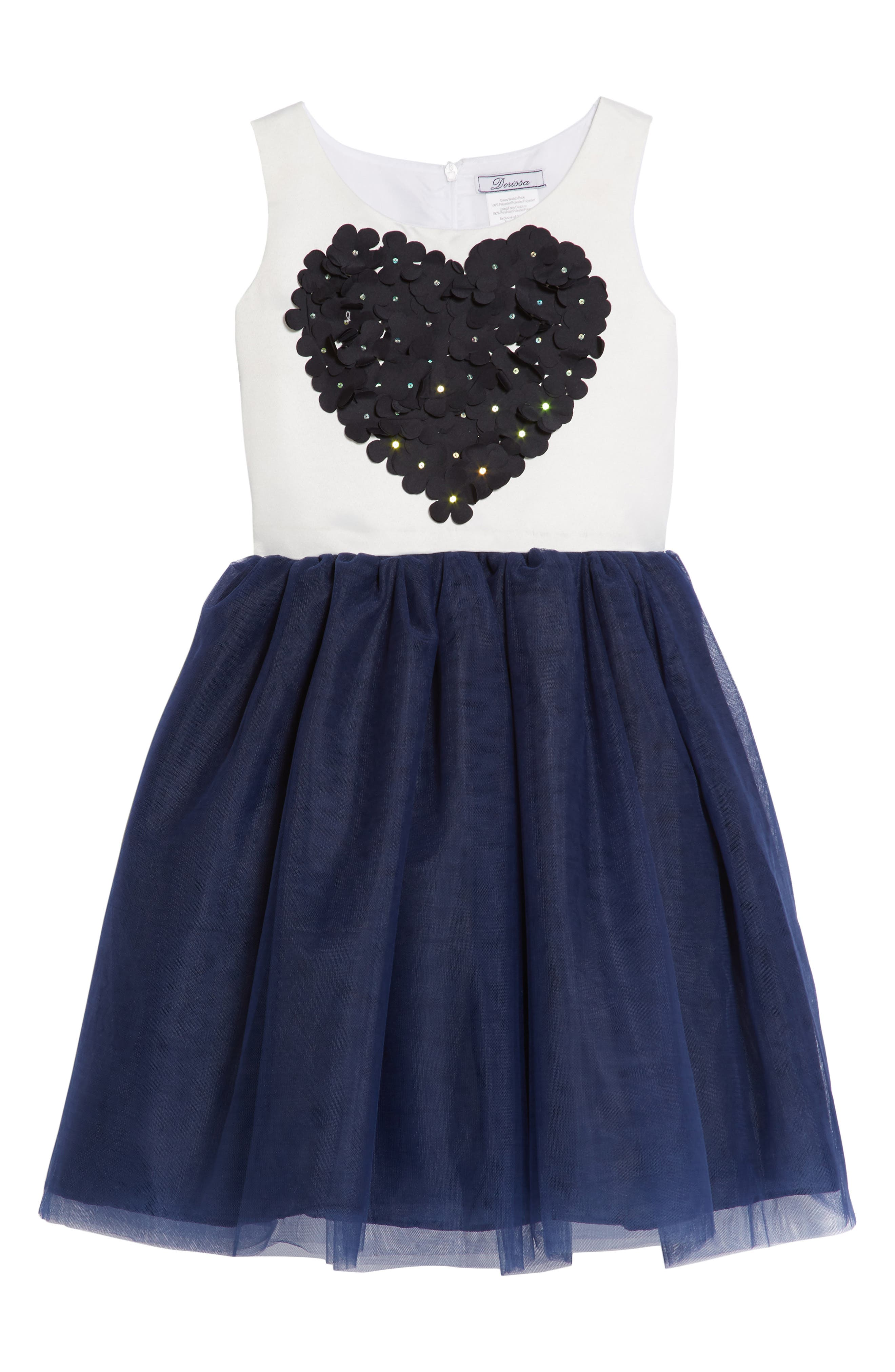 Amy Flower Embellished Tulle Dress,                         Main,                         color, White/ Navy