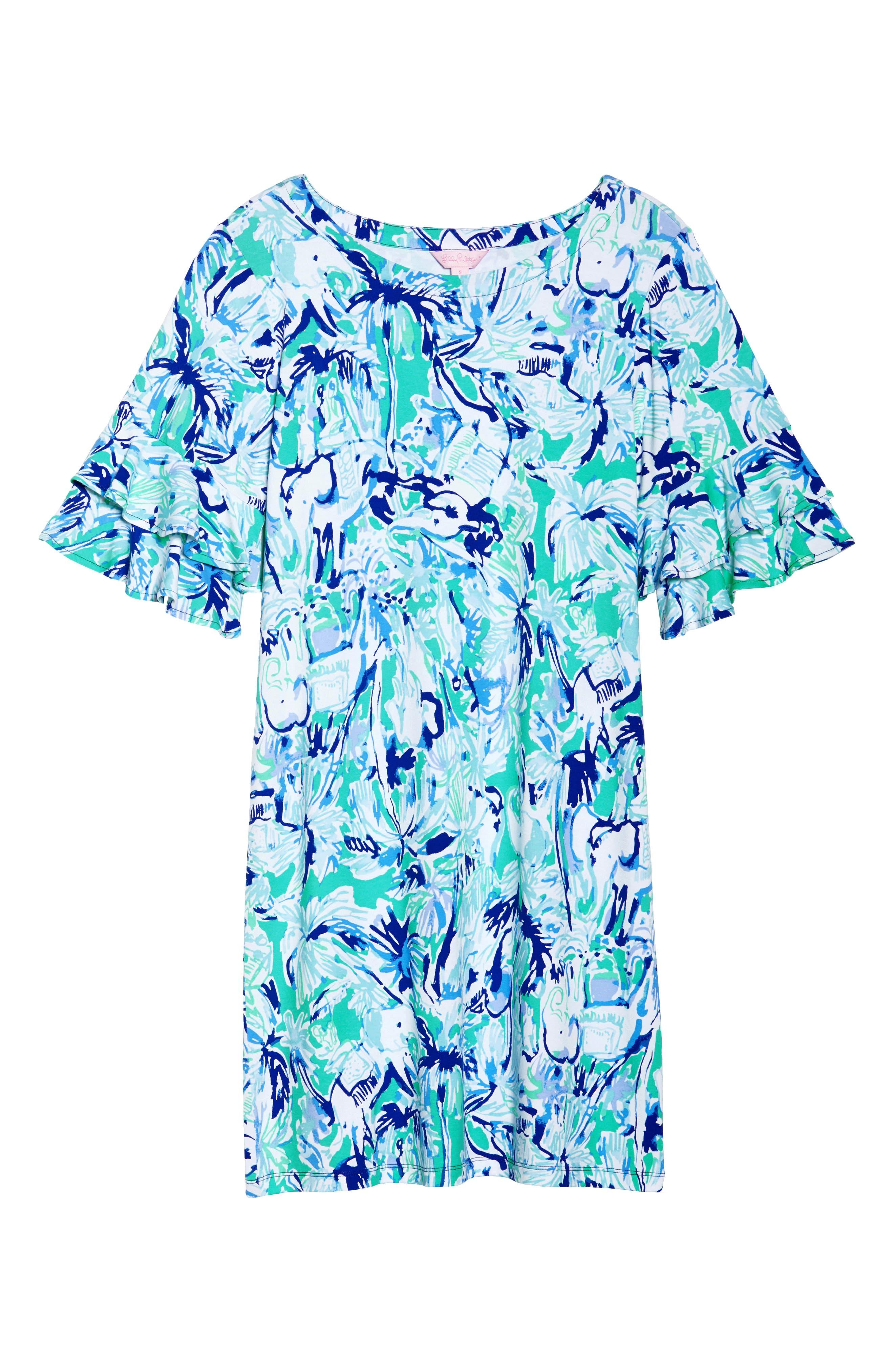 Lula Ruffle Sleeve Dress,                             Alternate thumbnail 7, color,                             Tropical Turquoise Elephant