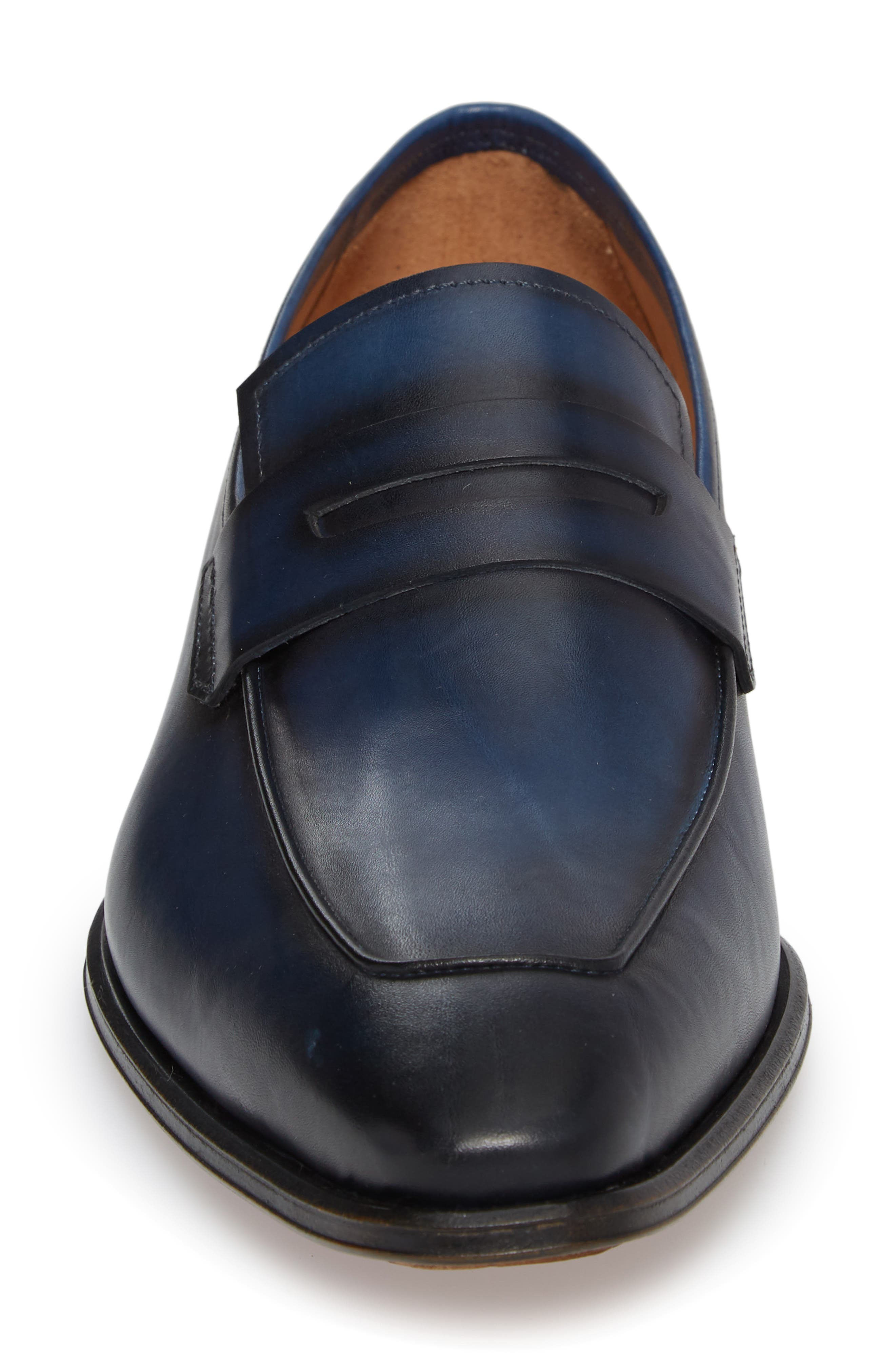 Marcus Penny Loafer,                             Alternate thumbnail 4, color,                             Mid Blue Leather