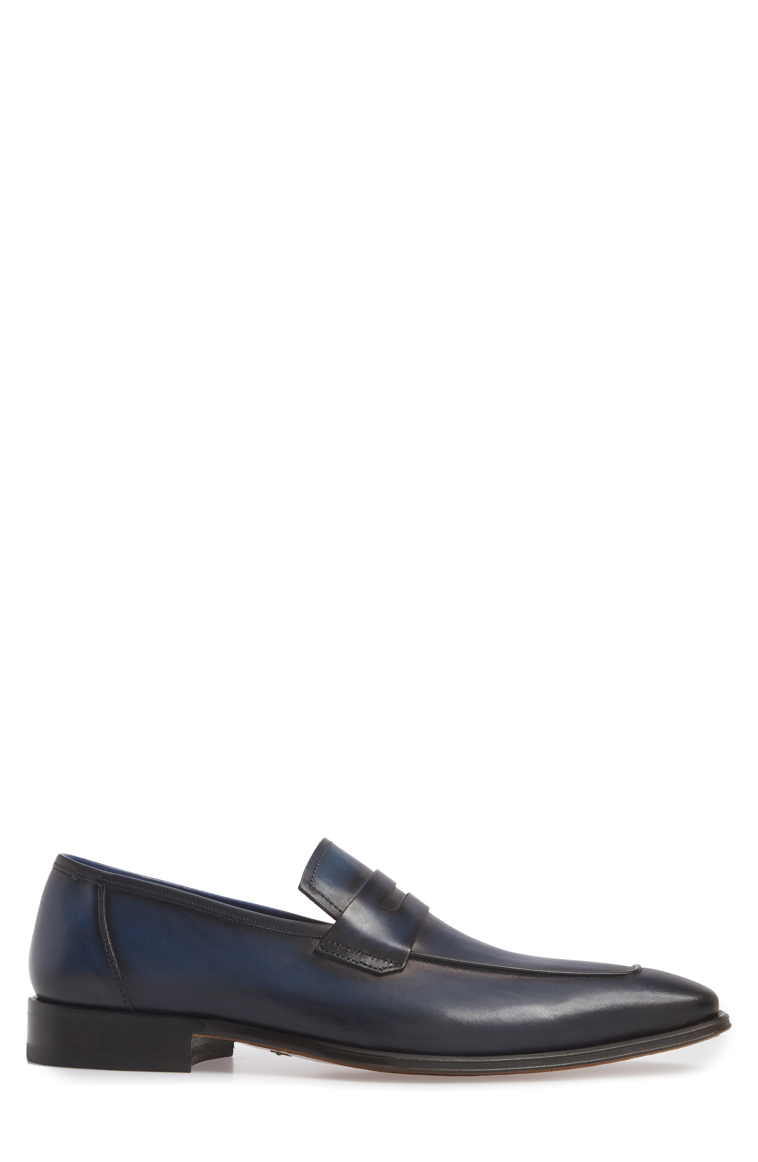 Marcus Penny Loafer,                             Alternate thumbnail 3, color,                             Mid Blue Leather
