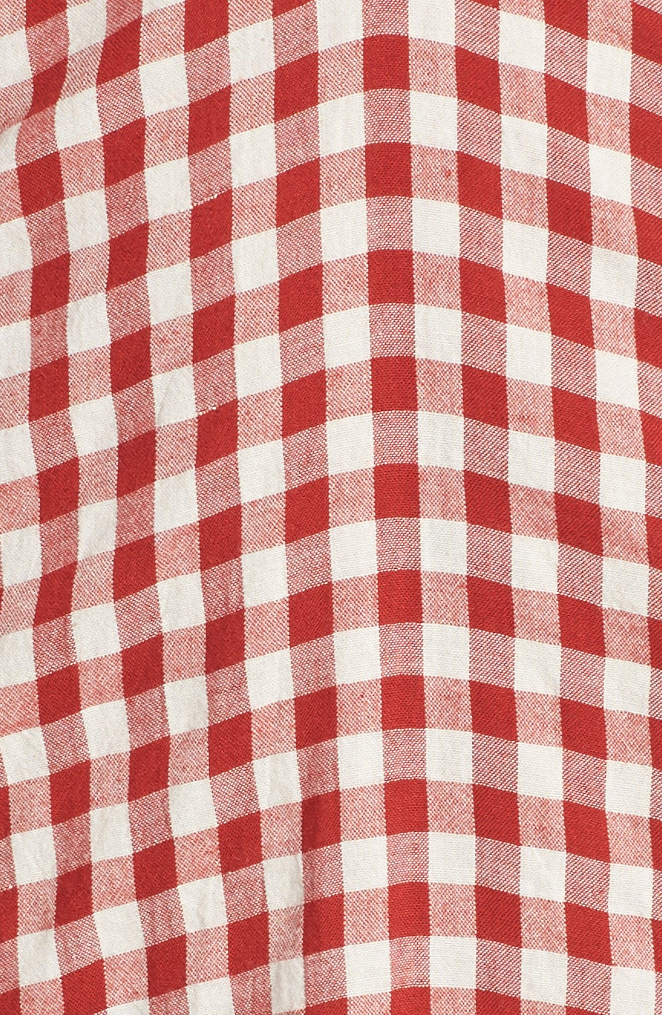 Gingham Bandeau Dress,                             Alternate thumbnail 6, color,                             Red-White