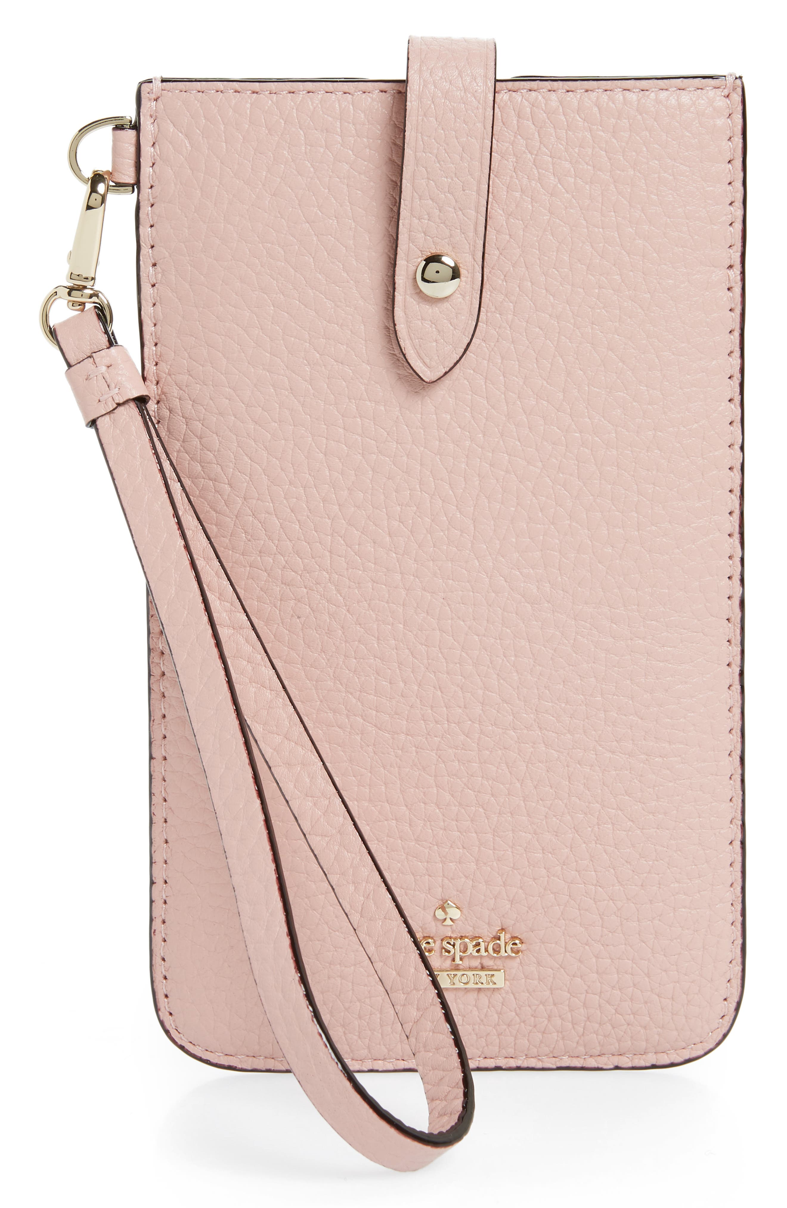 leather smartphone wristlet,                         Main,                         color, Rosy Cheeks