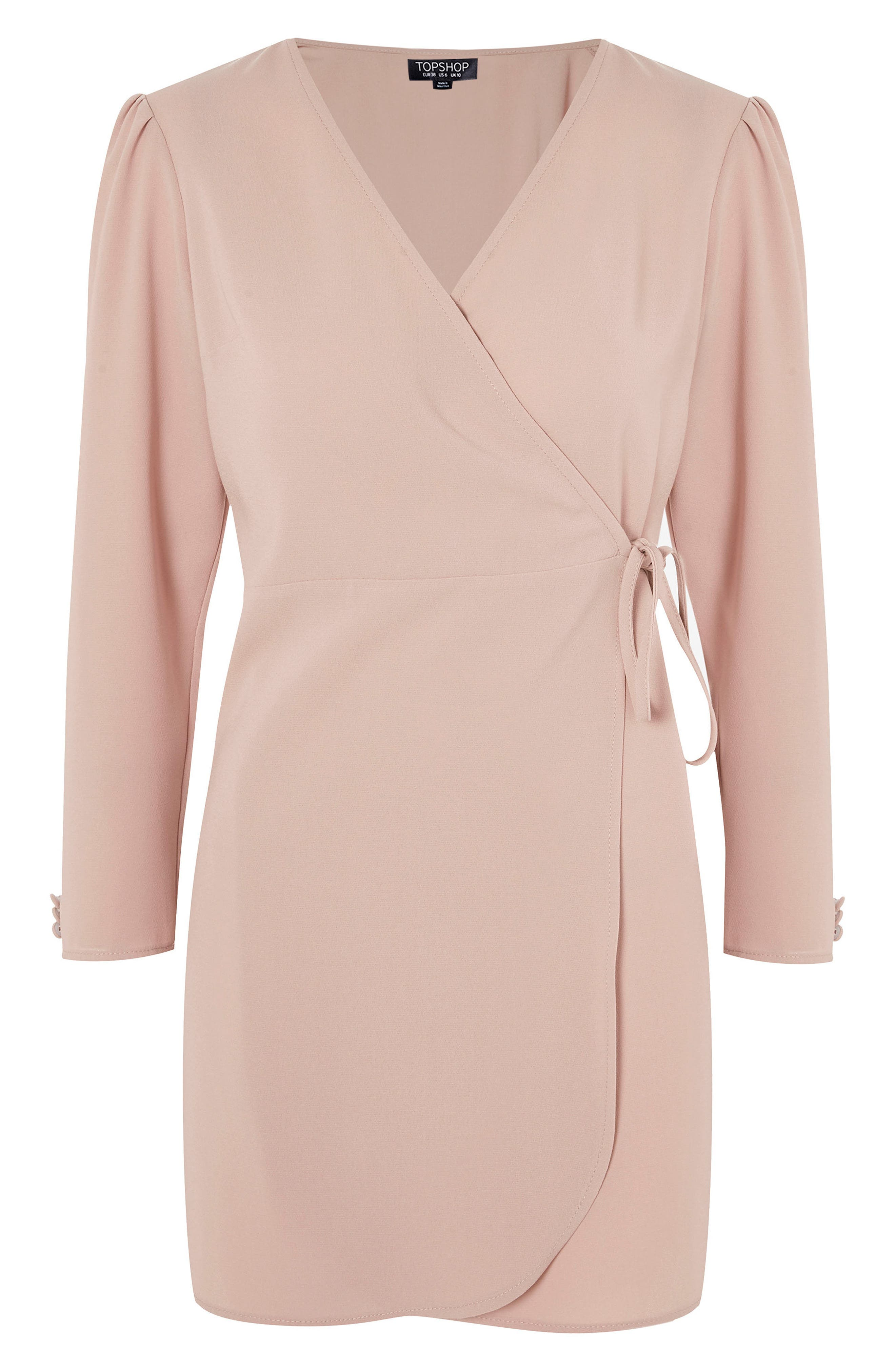 Crepe Wrap Minidress,                             Alternate thumbnail 3, color,                             Blush