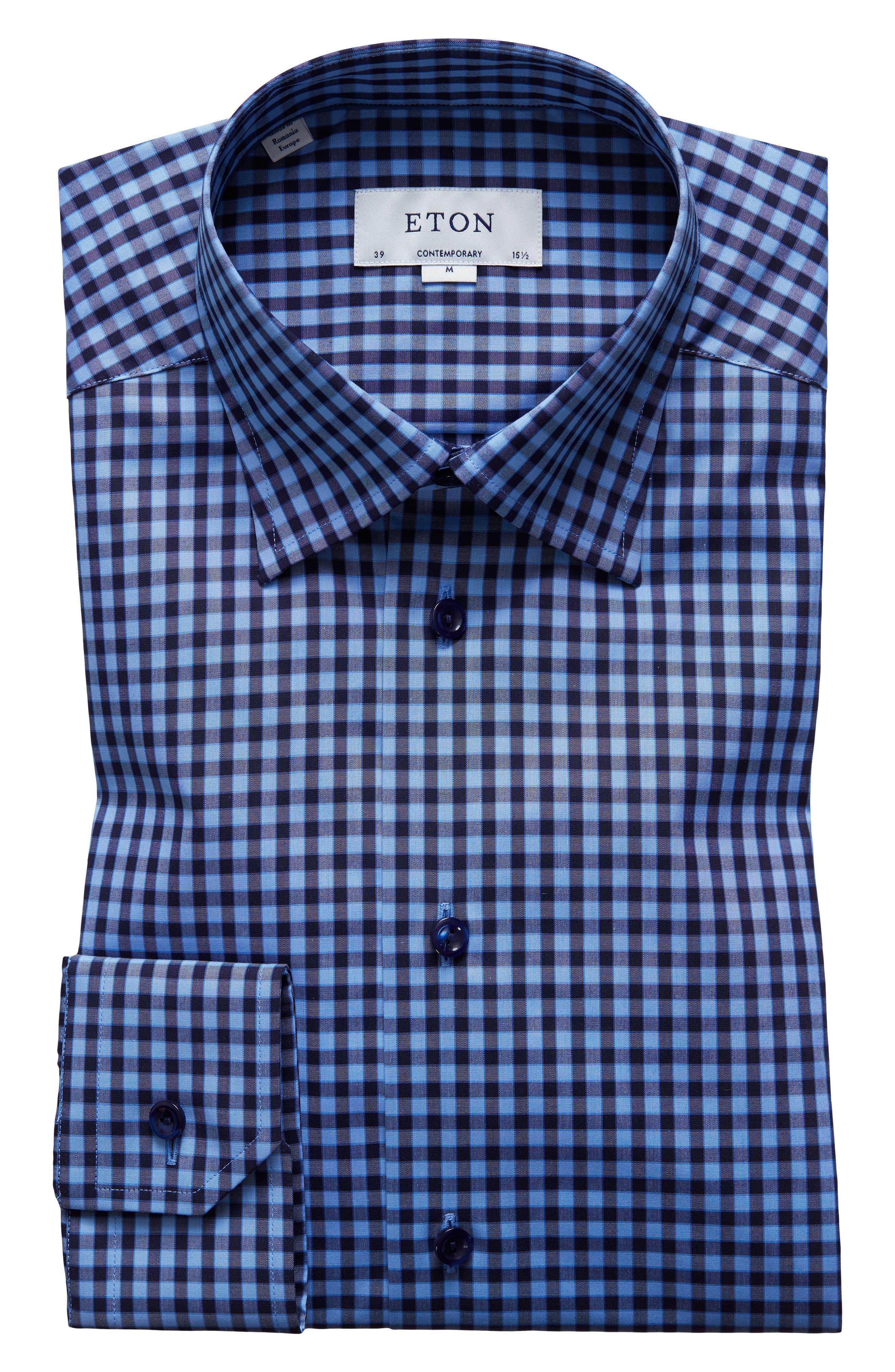 Contemporary Fit Check Dress Shirt,                             Alternate thumbnail 7, color,                             Navy
