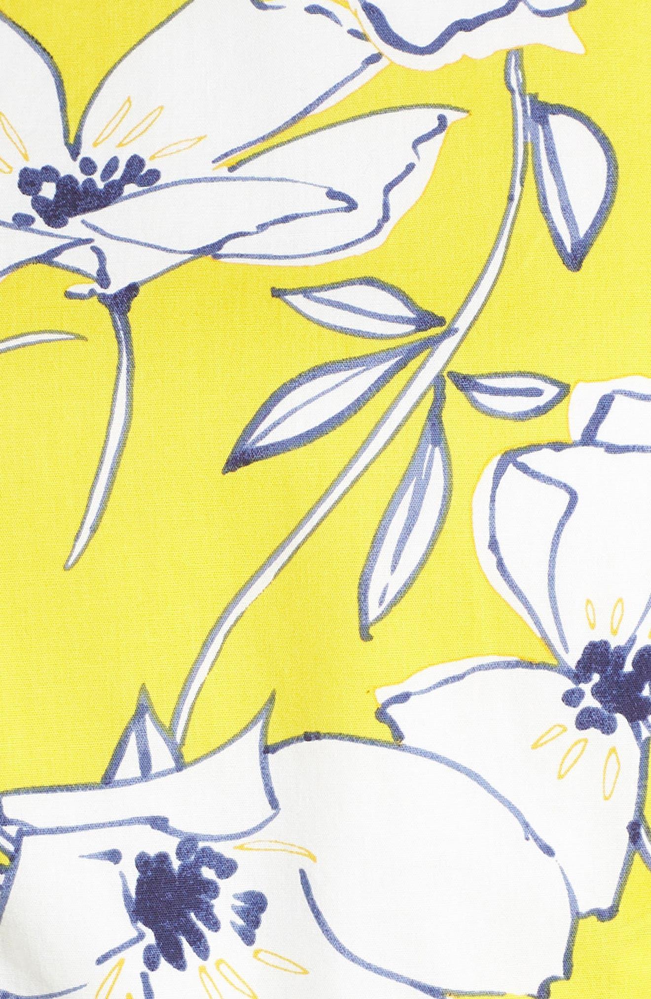 Floral Tie Waist Dress,                             Alternate thumbnail 6, color,                             Yellow/ Navy/ White