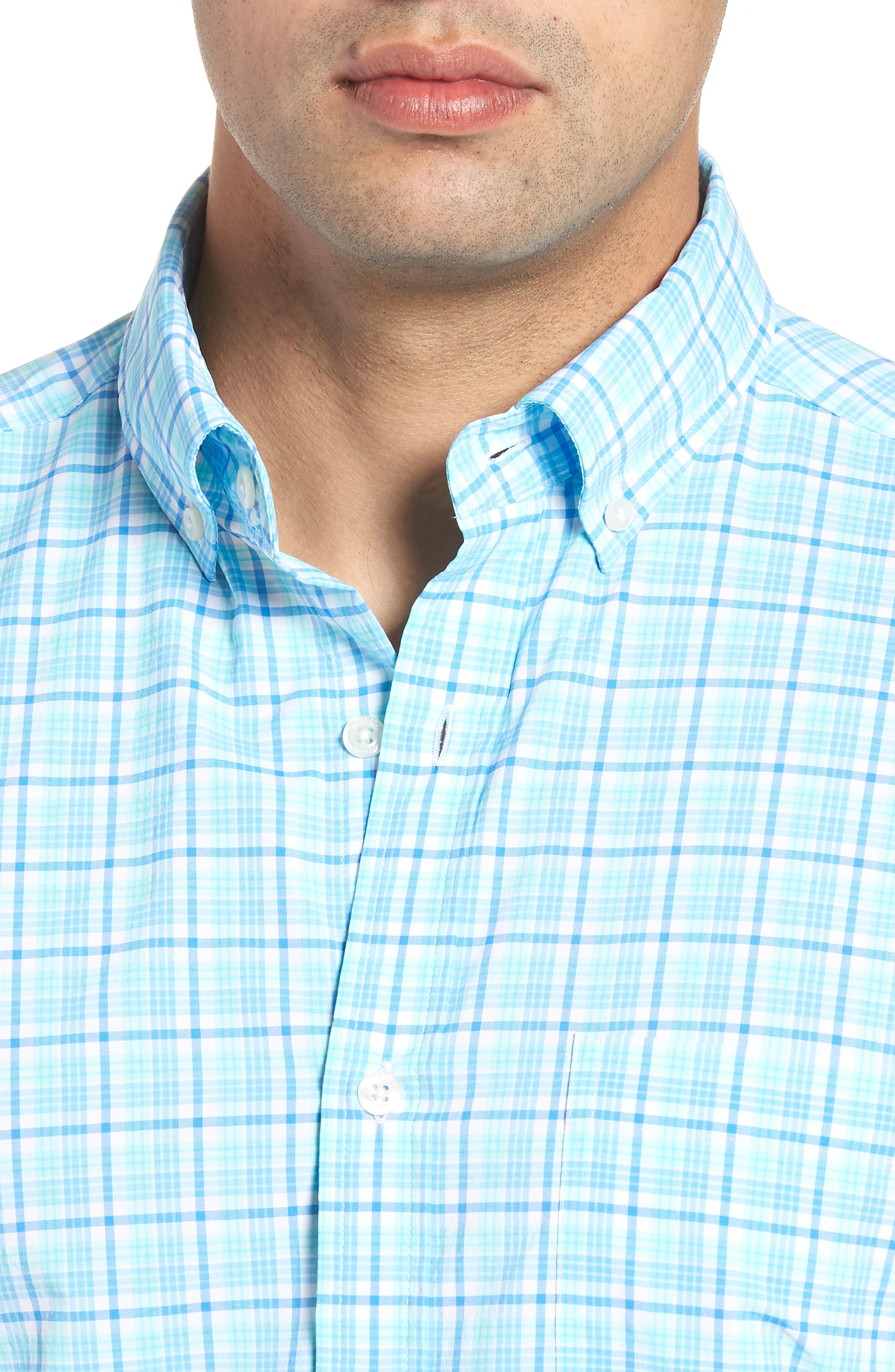 Tipsy Bar Classic Fit Stretch Plaid Sport Shirt,                             Alternate thumbnail 2, color,                             Turquoise