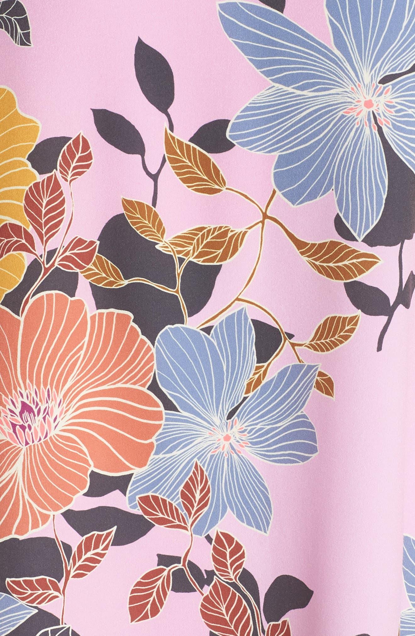 Shikoku Floral Crepe Shift Dress,                             Alternate thumbnail 5, color,                             Violet Vice Multi
