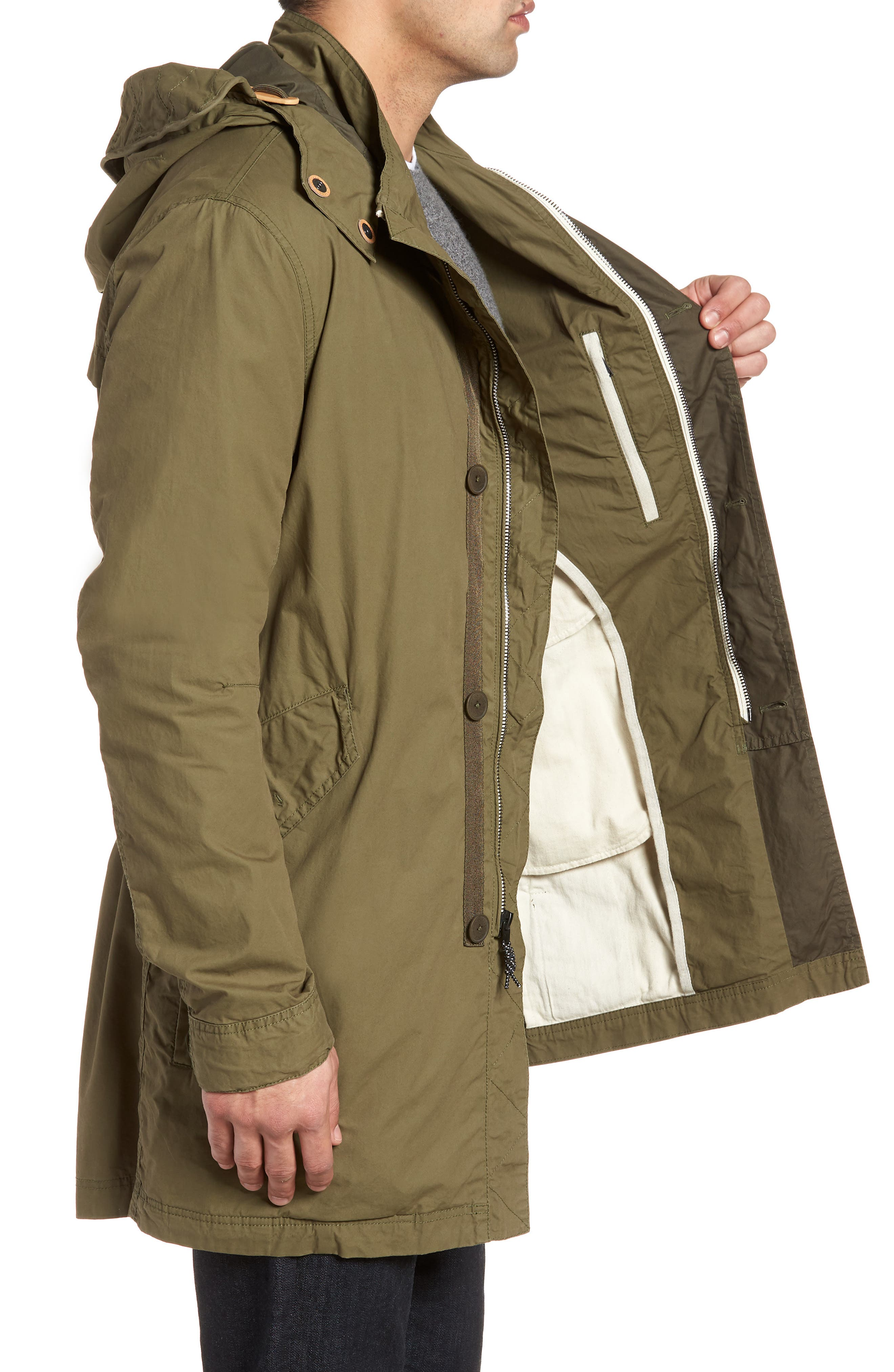 Lightweight Hooded Parka,                             Alternate thumbnail 3, color,                             Fatigue