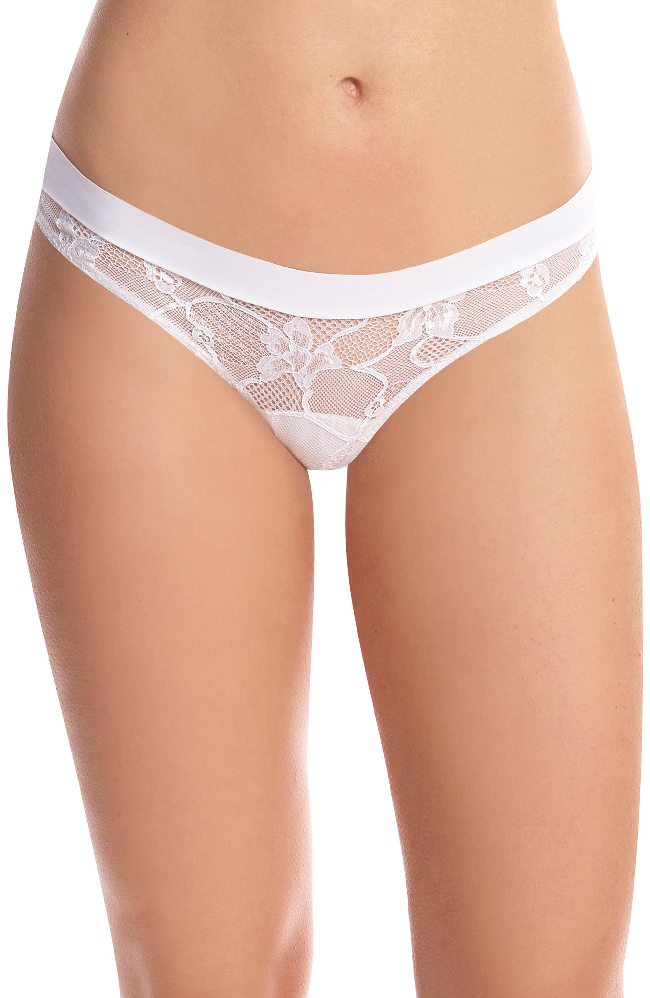 Stripped Lace Thong,                             Main thumbnail 1, color,                             White