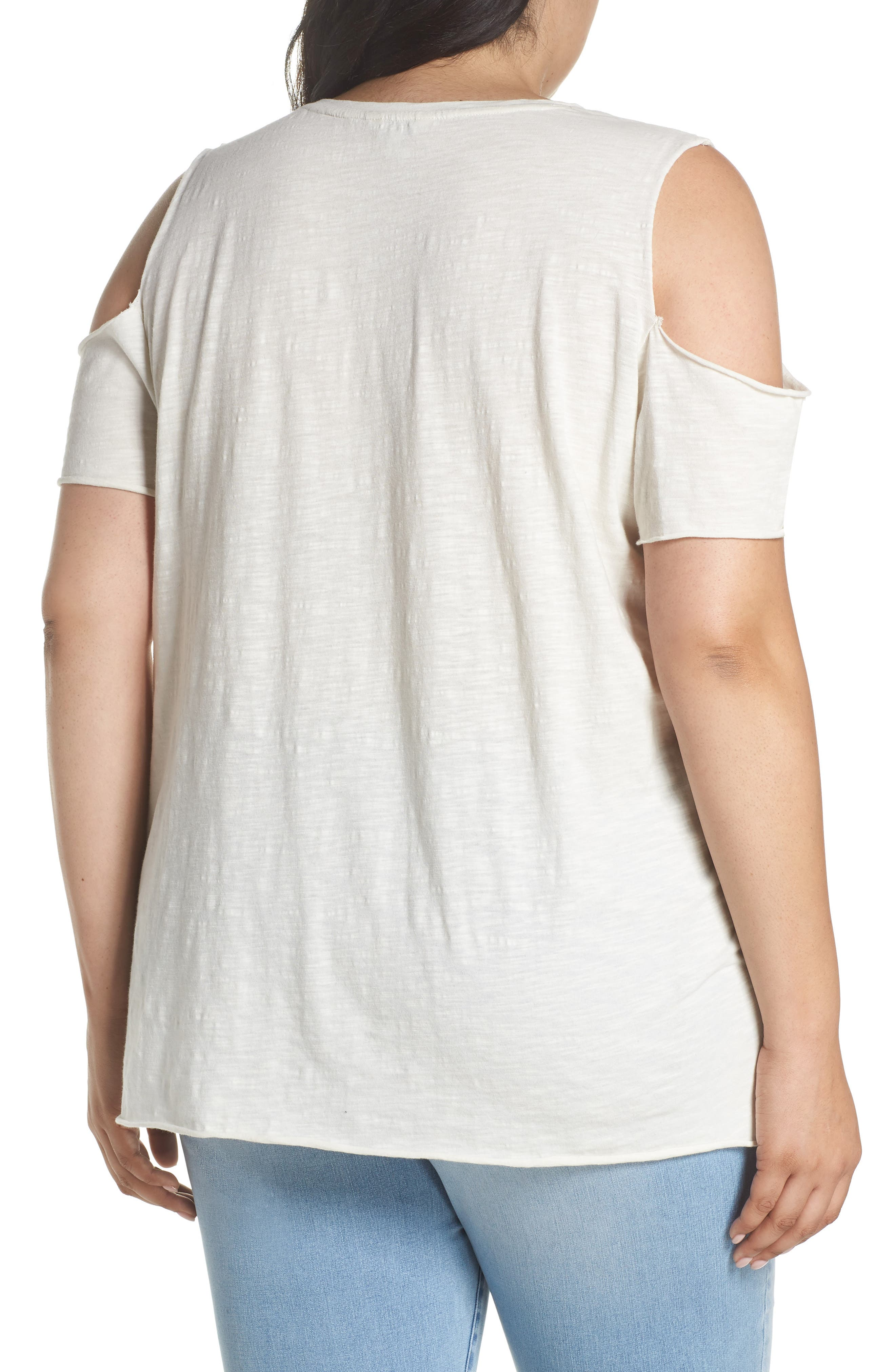 Alternate Image 2  - Lucky Brand Floral Embroidered Tee (Plus Size)