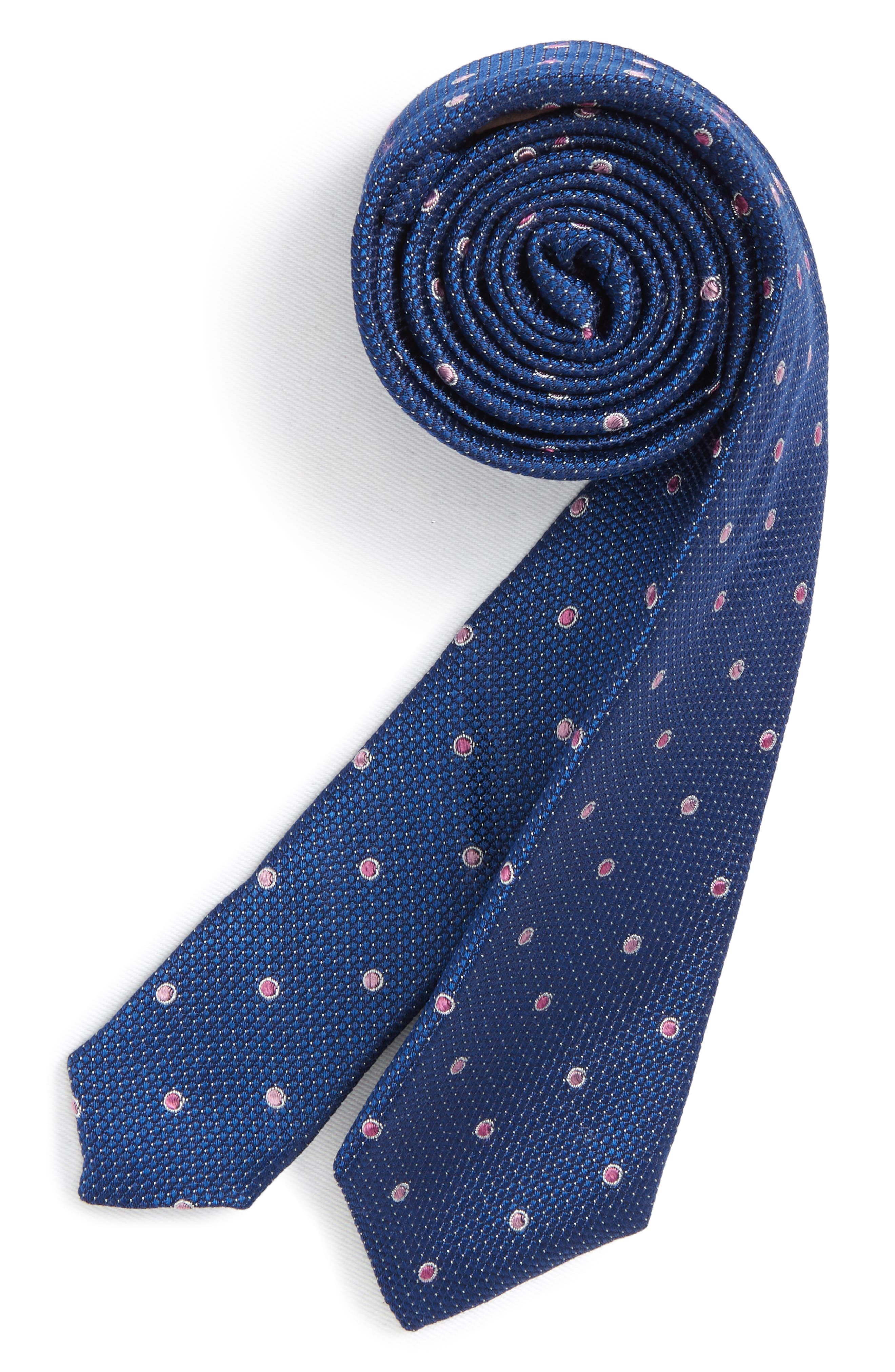 Dot Print Silk Tie,                             Main thumbnail 1, color,                             Blue