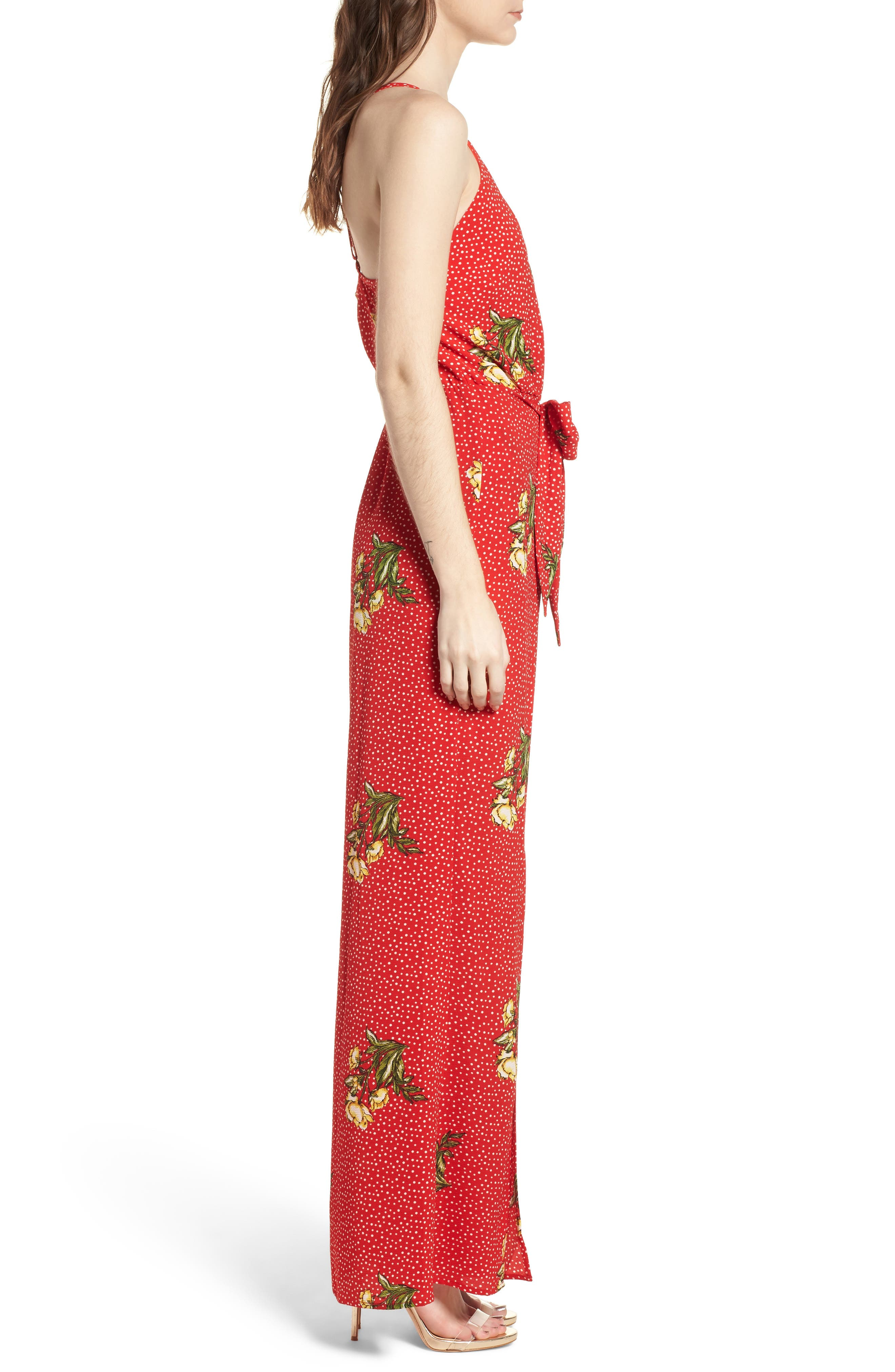 Wrap Jumpsuit,                             Alternate thumbnail 3, color,                             Red/ Yellow