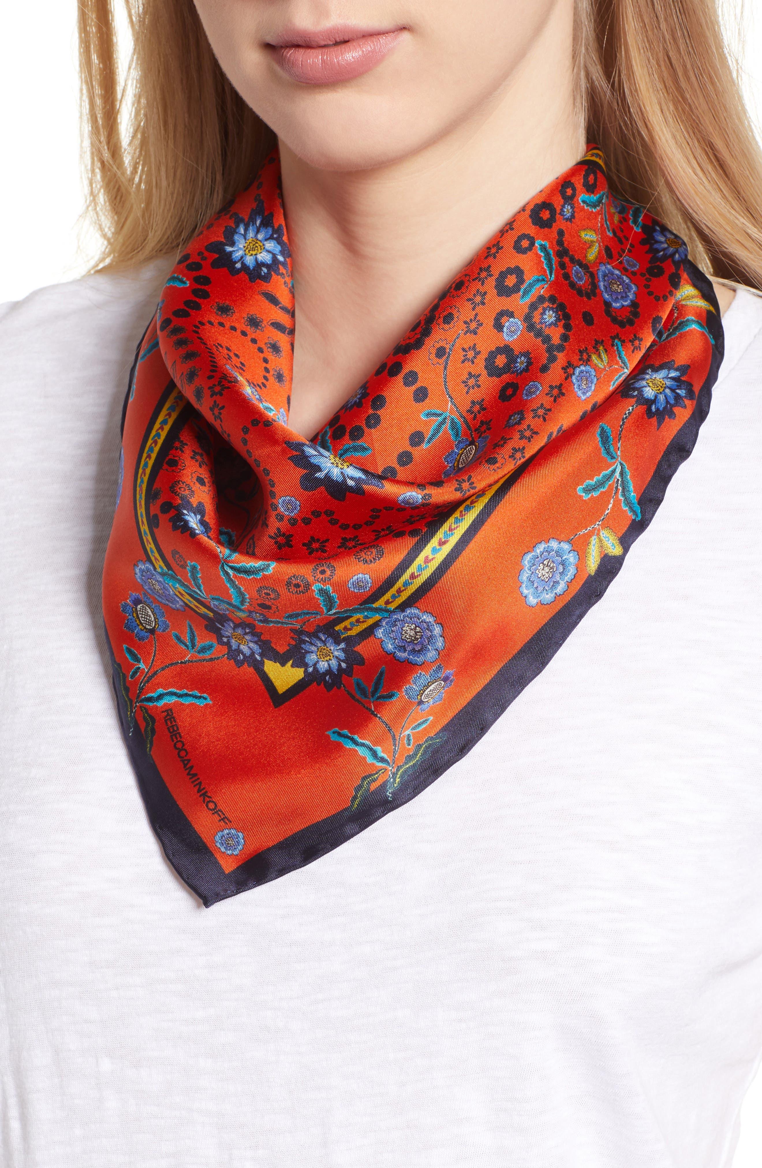 Mixed Floral Paisley Silk Bandana,                         Main,                         color, Orange